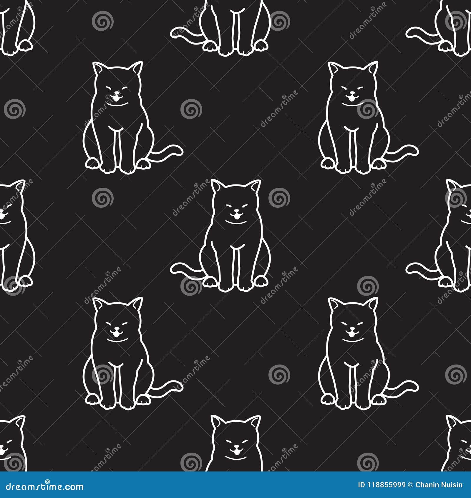 O fundo do papel de parede da garatuja do sorriso do gatinho do vetor de Cat Seamless Pattern isolou o preto