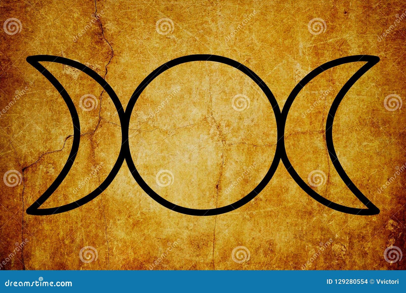 O fundo mágico do vintage dos símbolos do símbolo triplo da deusa