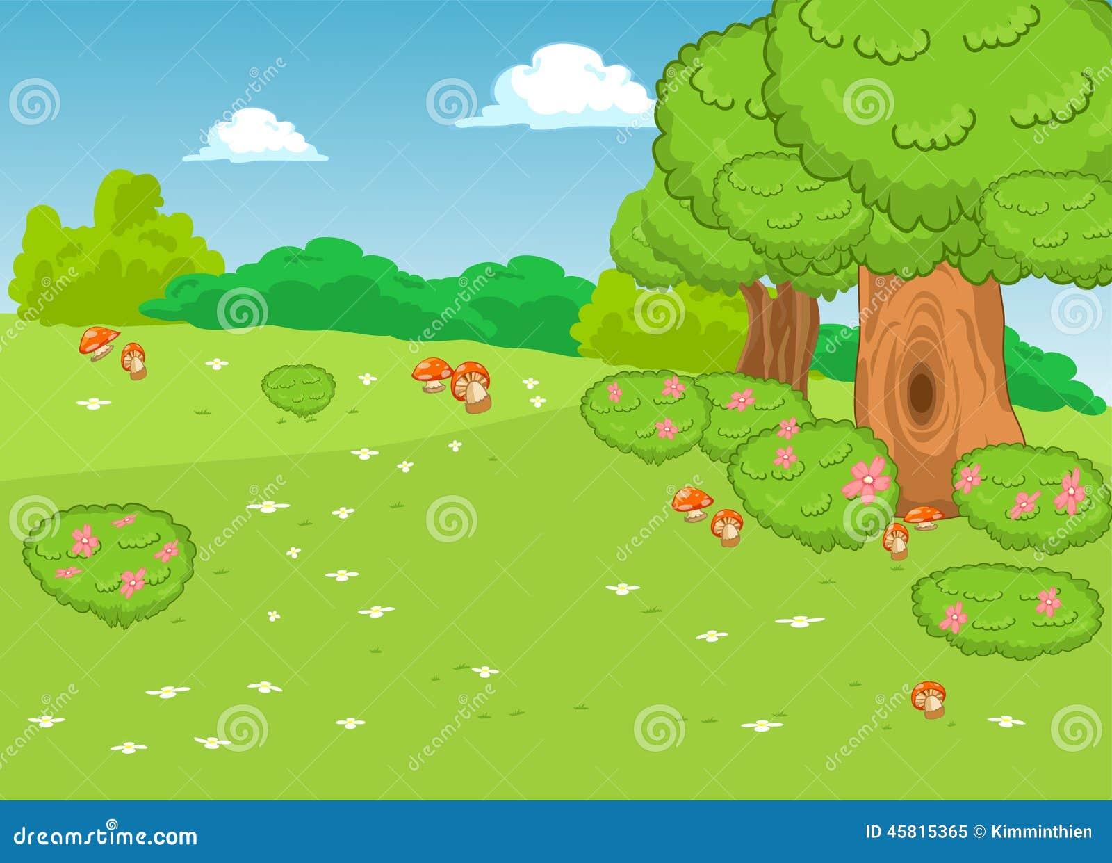 O Fundo Natural Dos Desenhos Animados Da Paisagem Ilustracao Do
