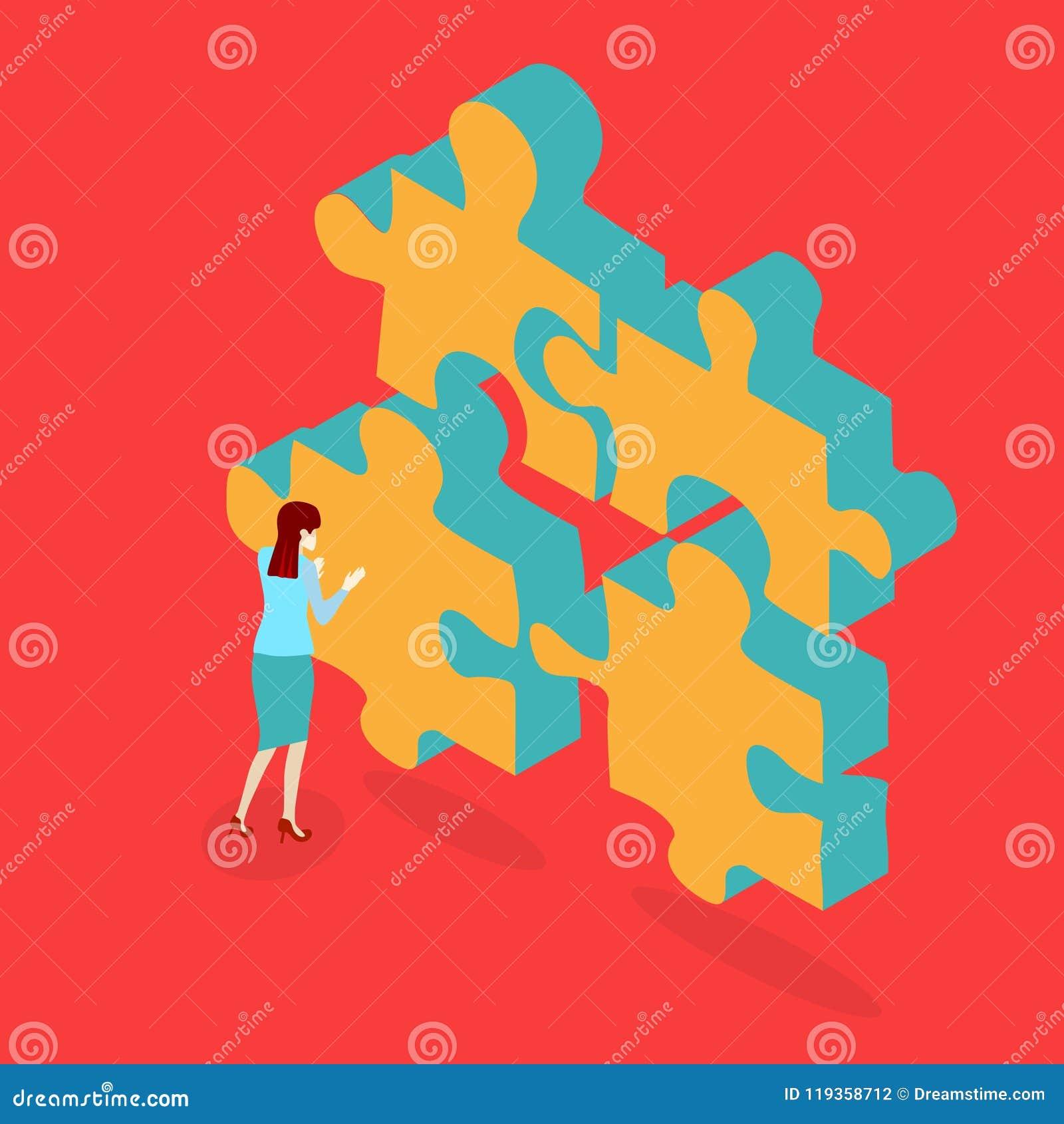 O fundo vermelho com enigma e mulher resolve o problema
