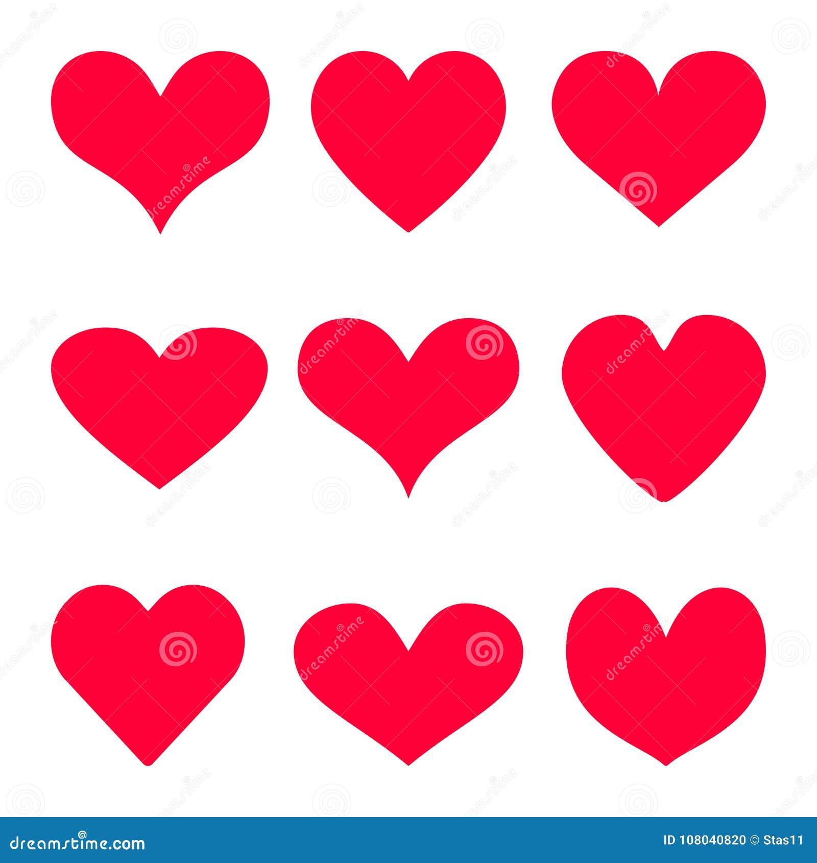 O fundo vermelho do ícone do vetor do coração ajustou-se para o dia do ` s do Valentim, ilustração médica, símbolo da história de