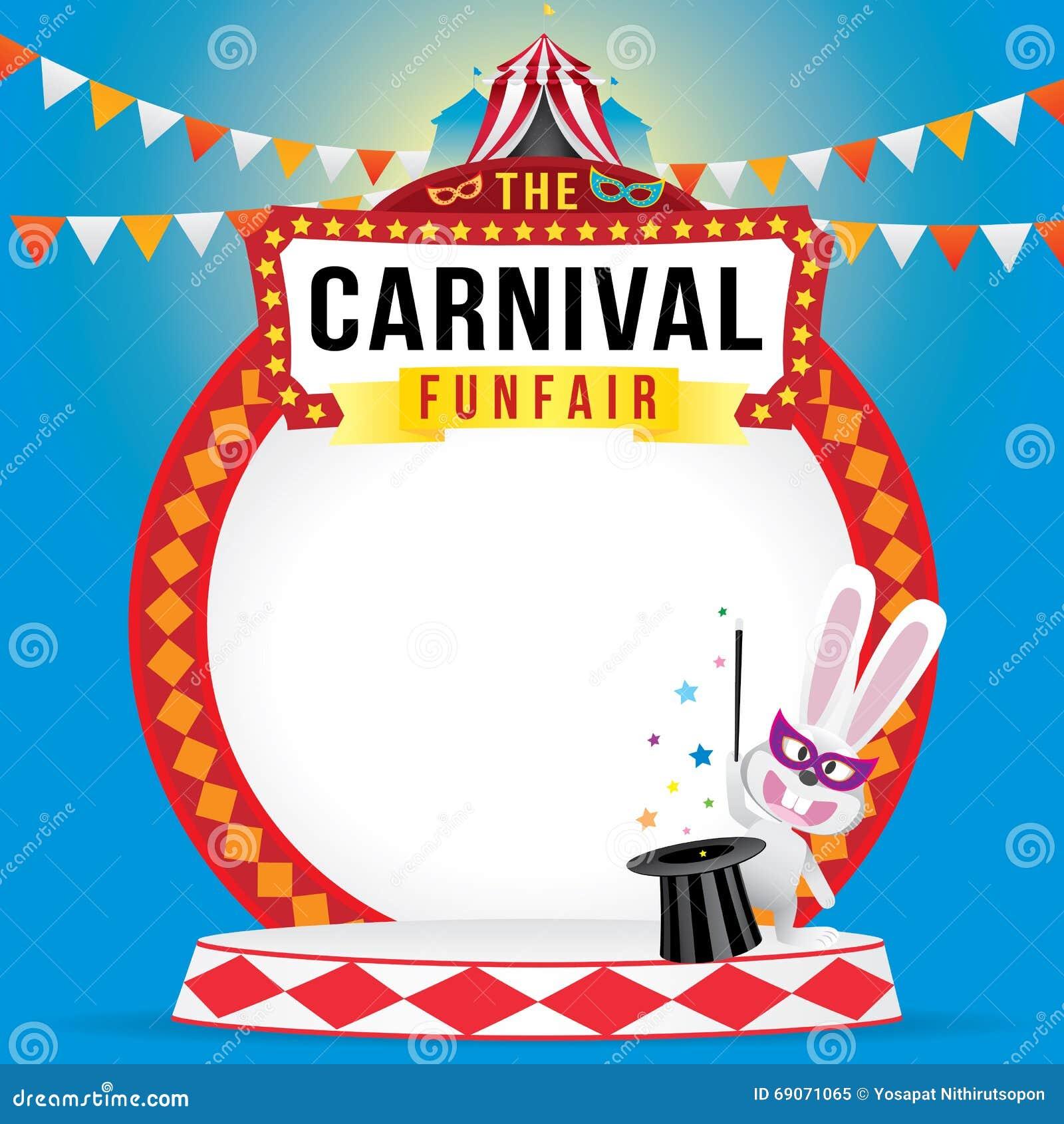O funfair do carnaval e a mostra mágica