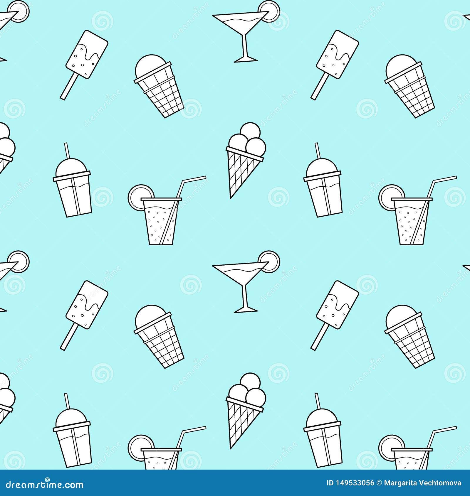 O gelado bebe o teste padrão sem emenda do vetor azul do fundo