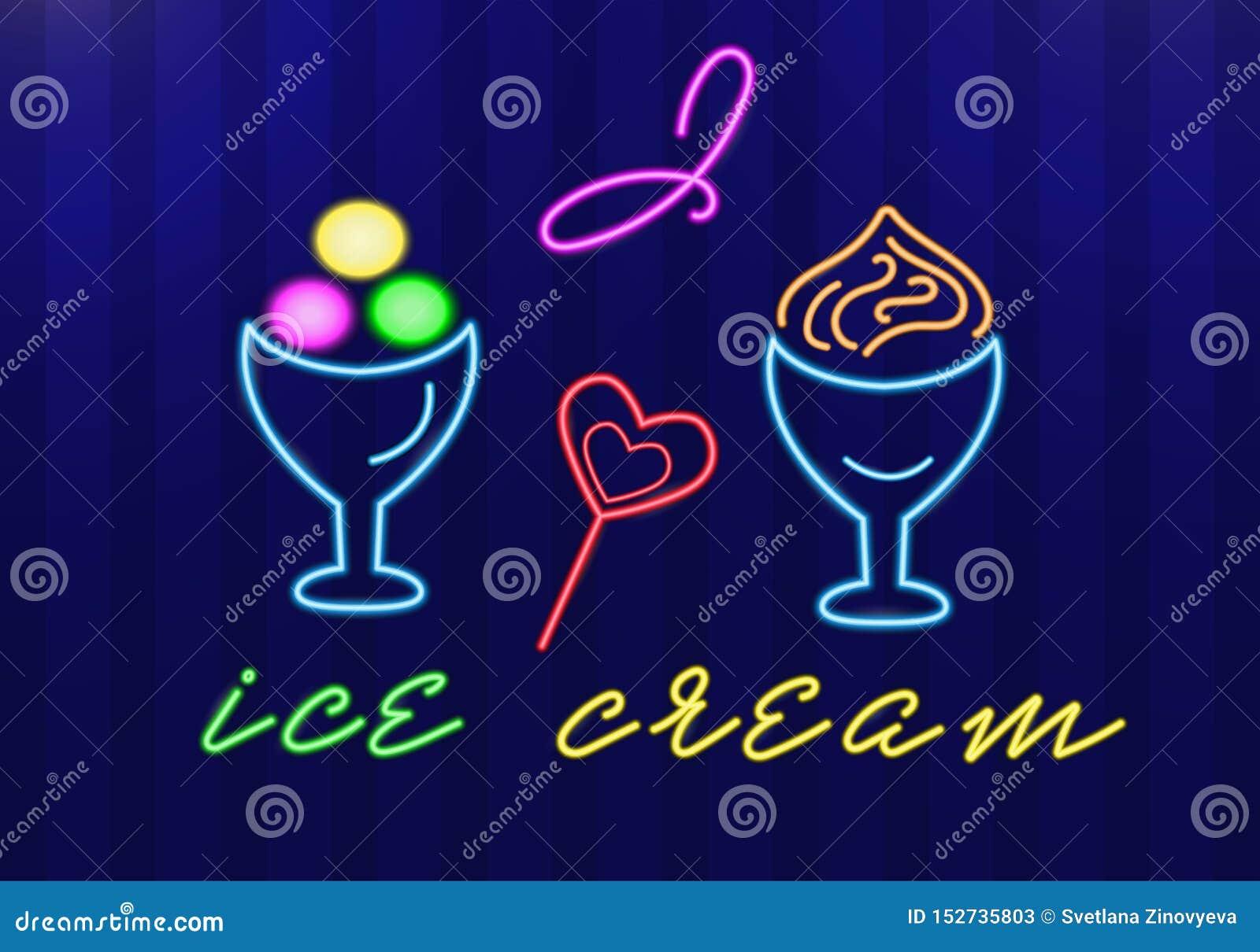 O gelado de néon em umas bacias do gelado e os corações dos doces com as palavras eu amo o gelado Objetos isolados Vetor