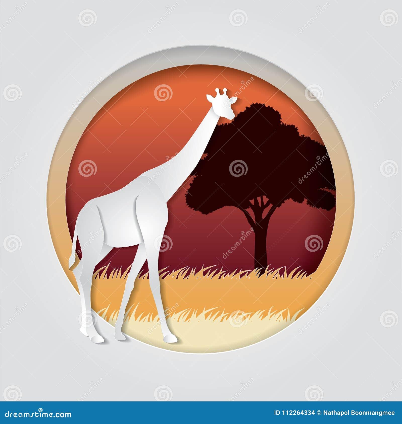 O girafa no papel na moda cortou o estilo do gráfico do ofício Projeto moderno para anunciar, cartão de marcagem com ferro quente