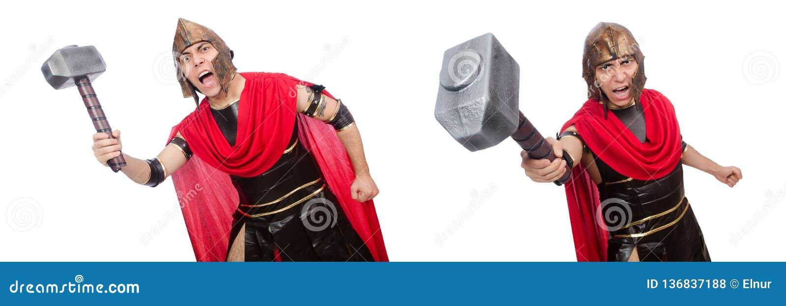 O gladiador isolado no branco