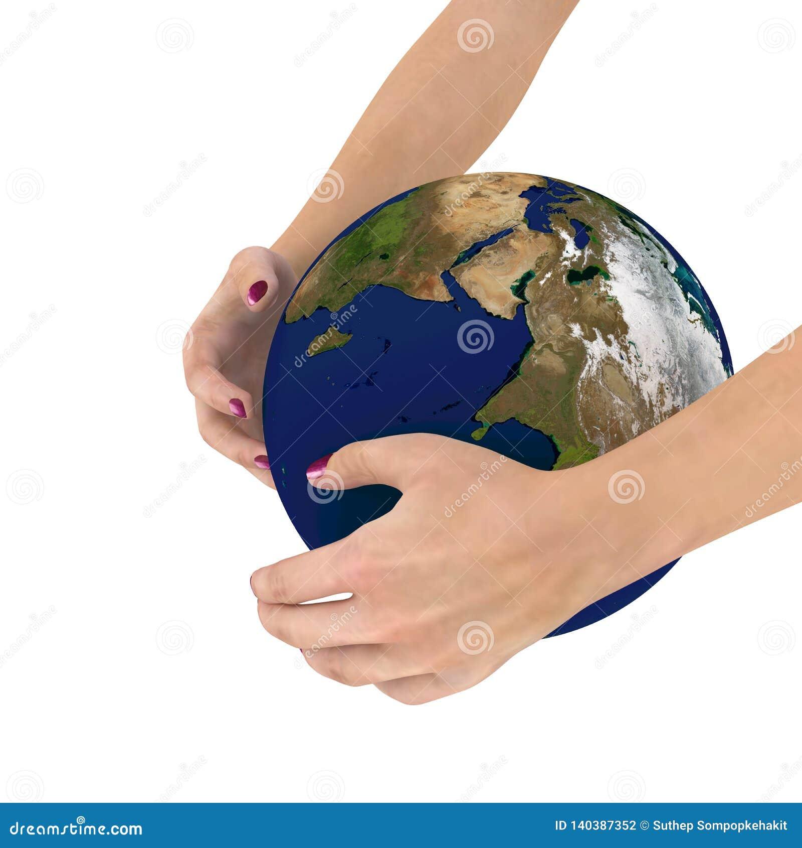 O globo em suas mãos, elementos da terra arrendada da mulher desta imagem forneceu por NASA, rendição 3D