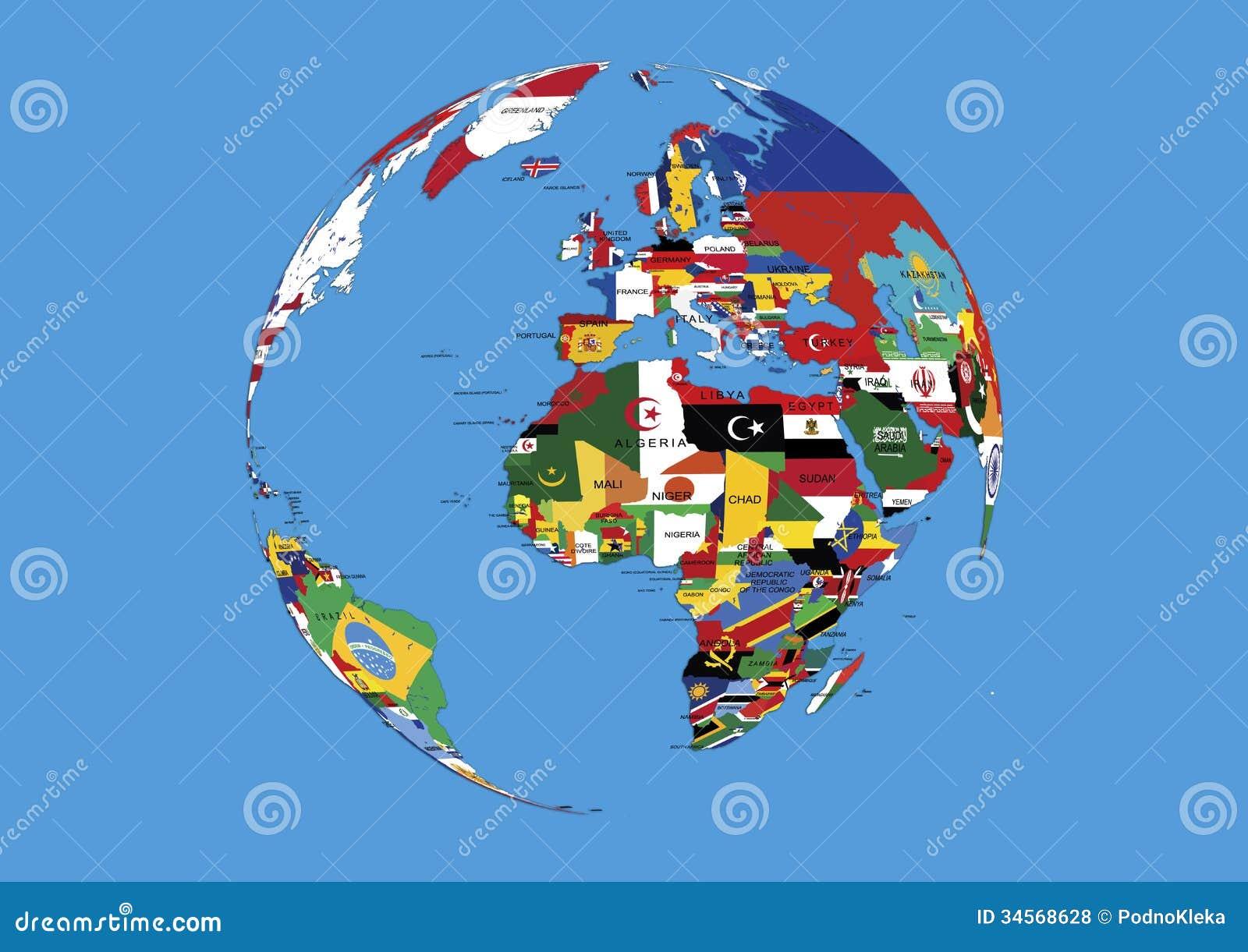 O globo Europa do mundo, as bandeiras de África e de Ásia traçam