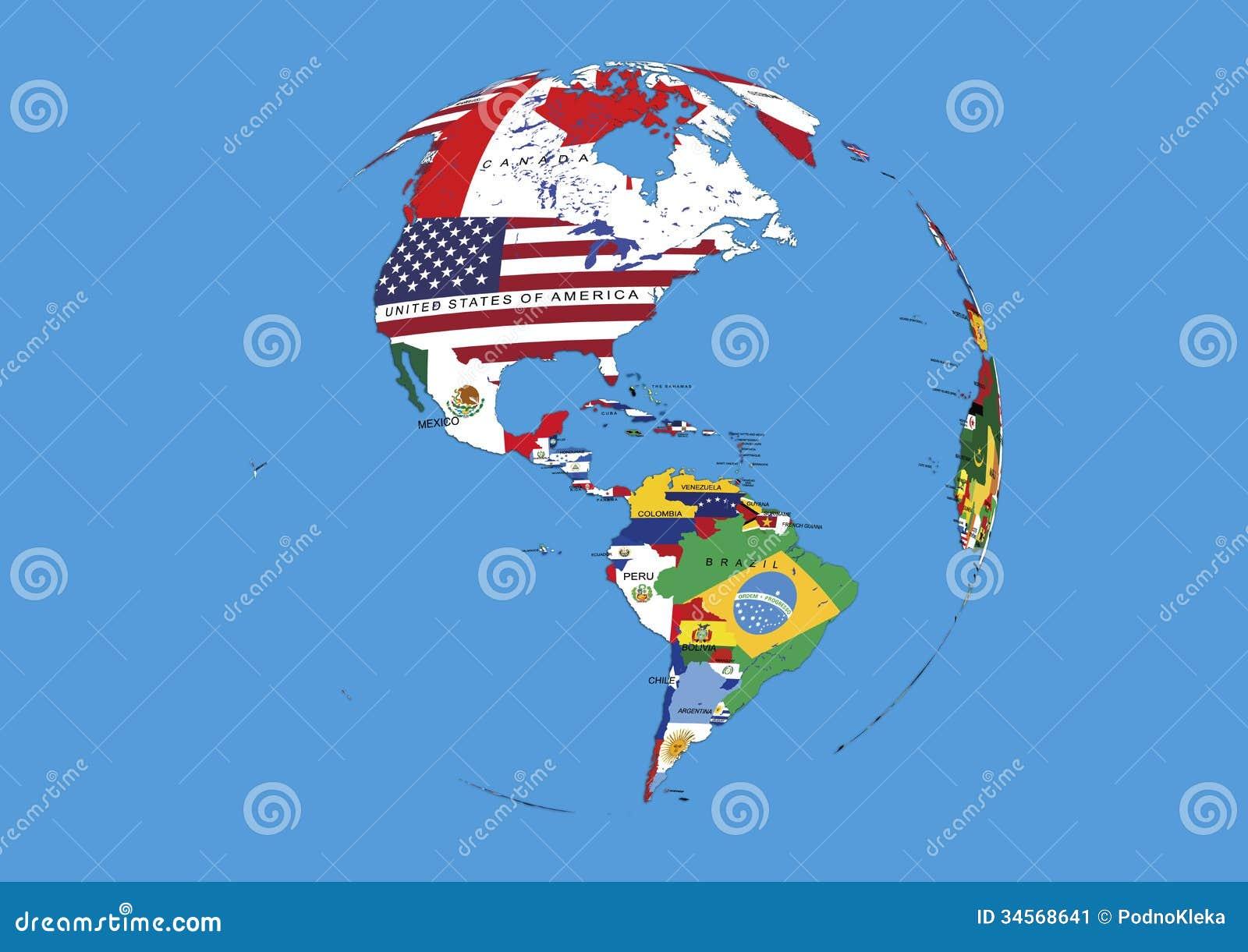 O globo ocidental do mundo do hemisf rio embandeira o mapa imagem de stock imagem 34568641 - Oglo o ...
