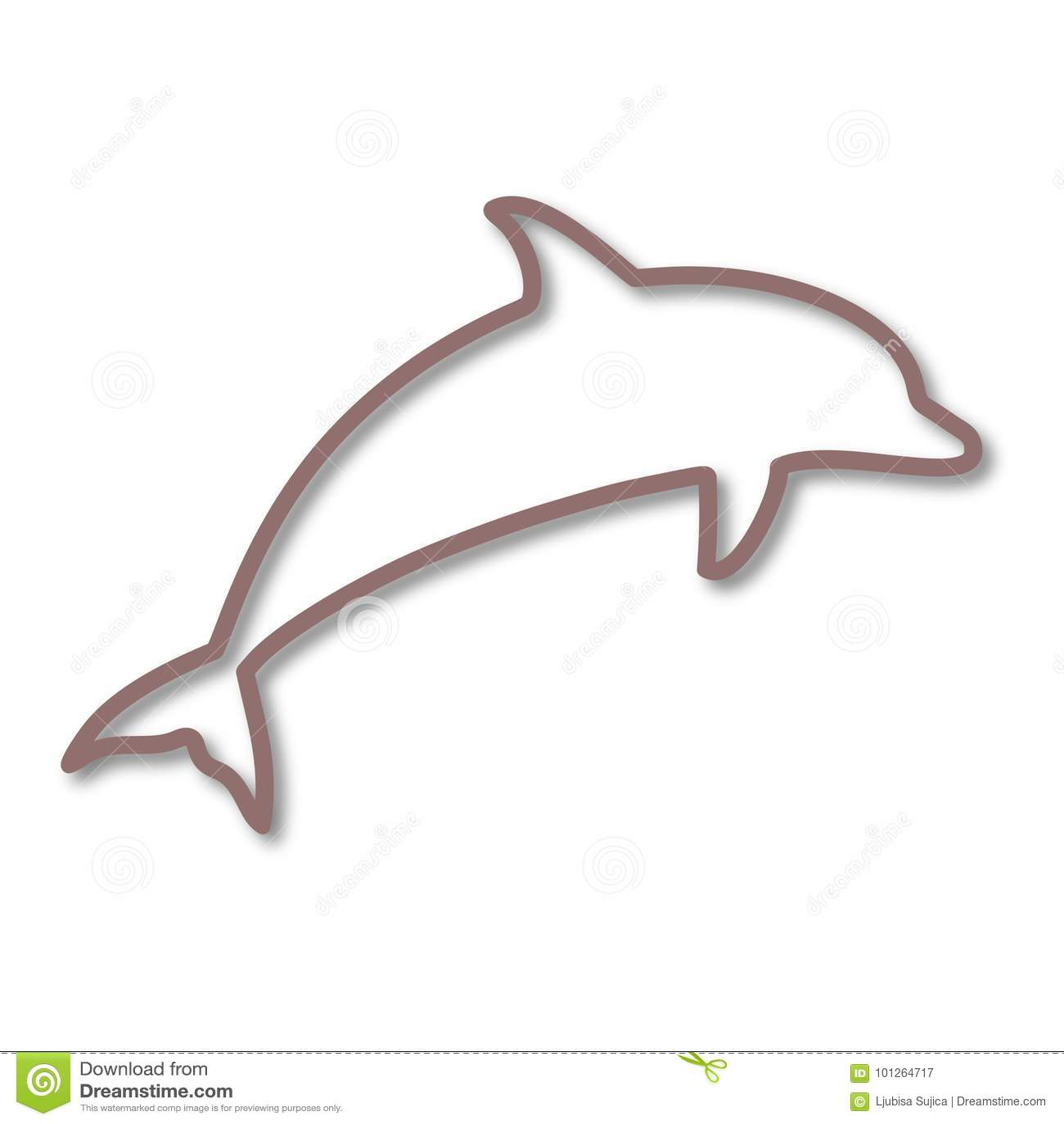 o golfinho mostra em silhueta o ícone ilustração do vetor