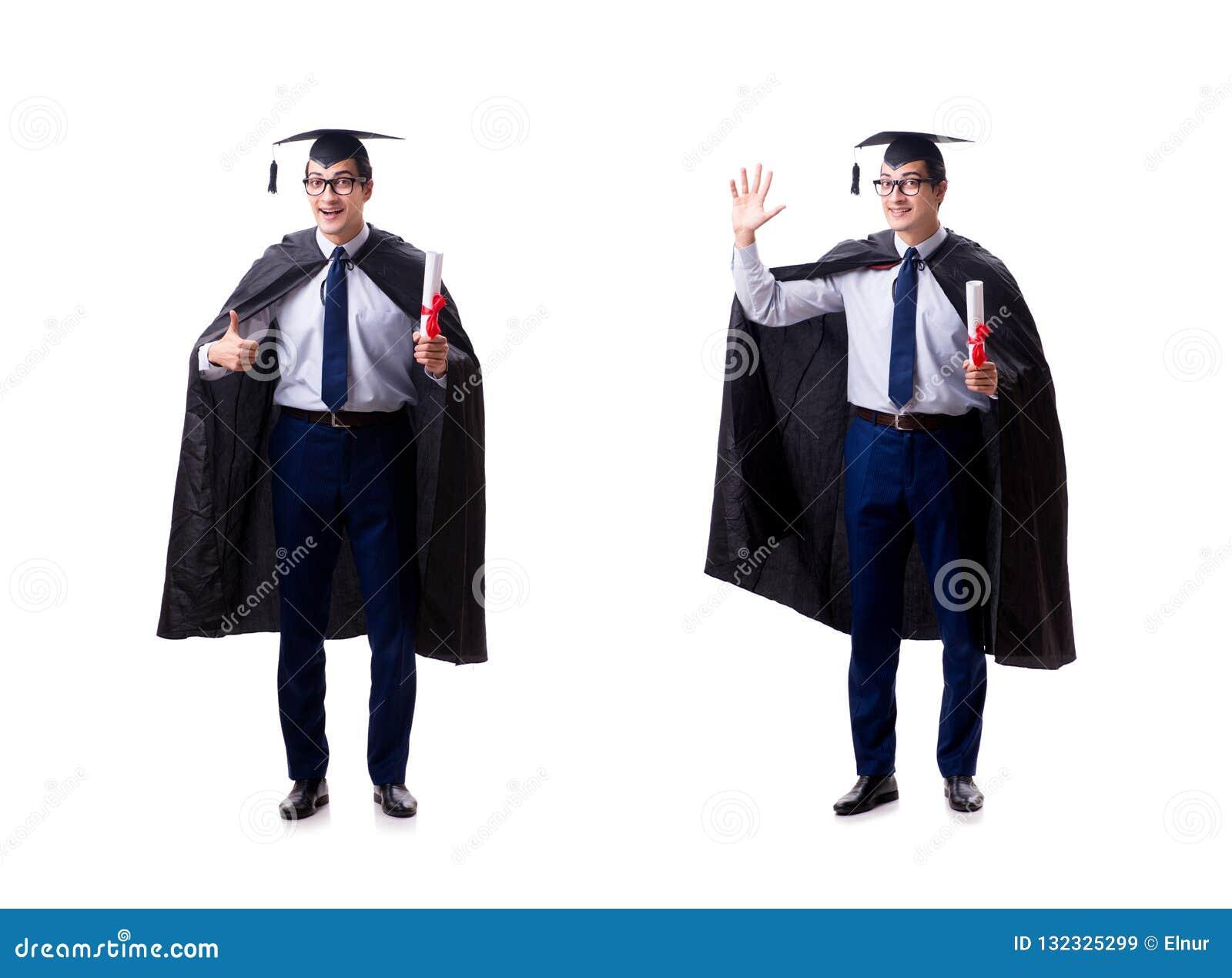 O graduado do estudante isolado no fundo branco