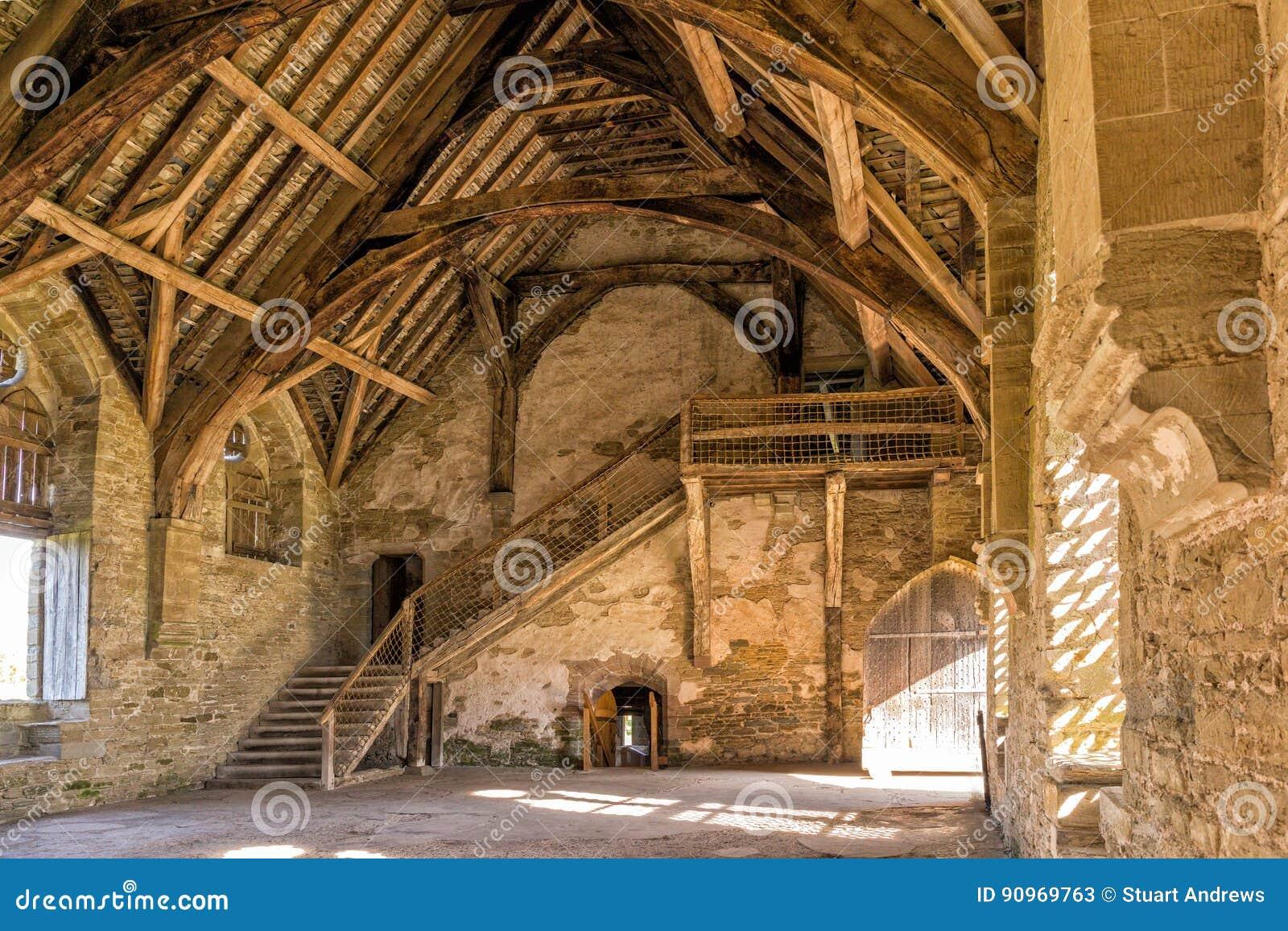 O grande salão, castelo de Stokesay, Shropshire, Inglaterra