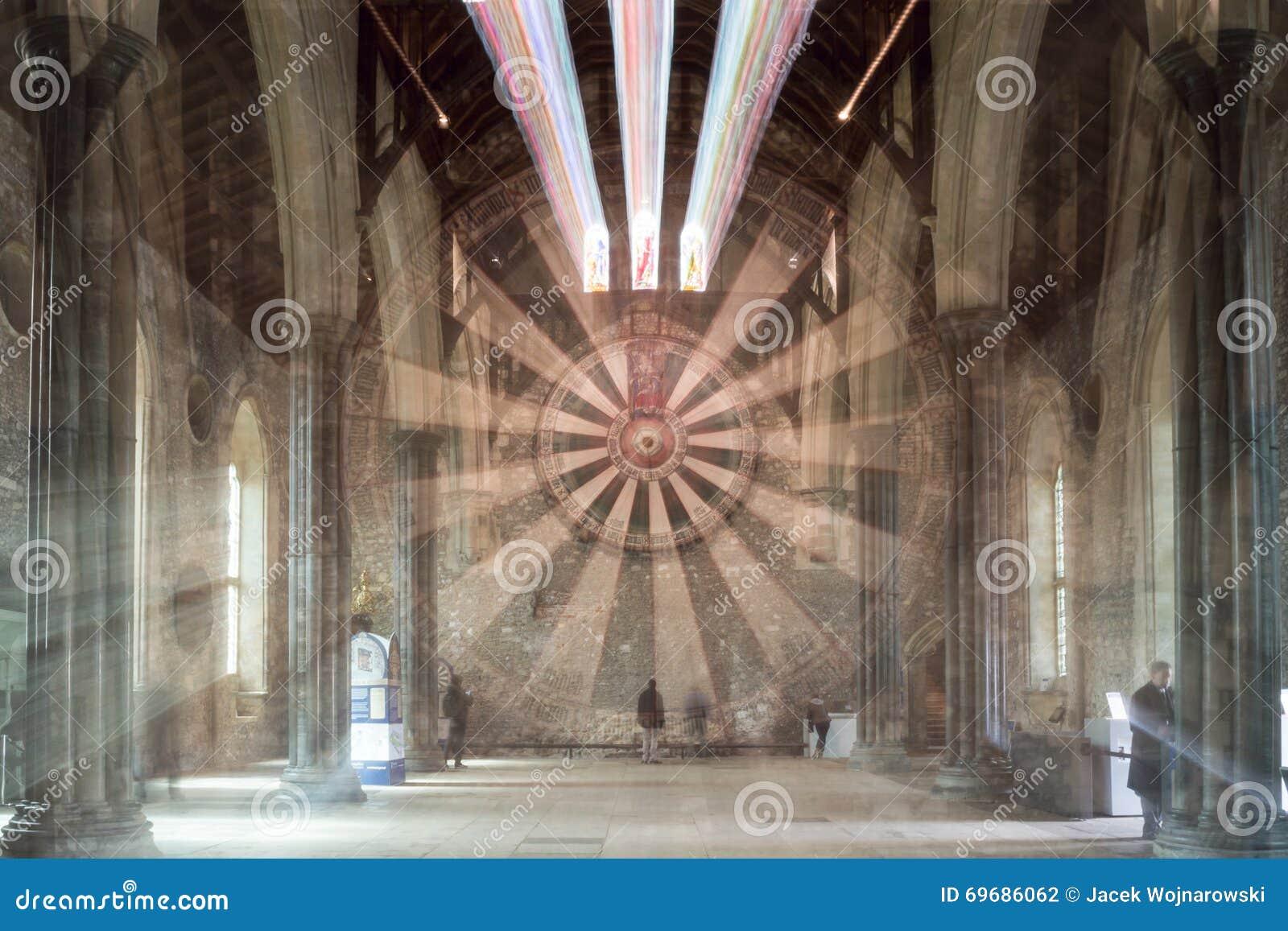 O grande salão, castelo de Winchester, explosão do zumbido de Hampshire