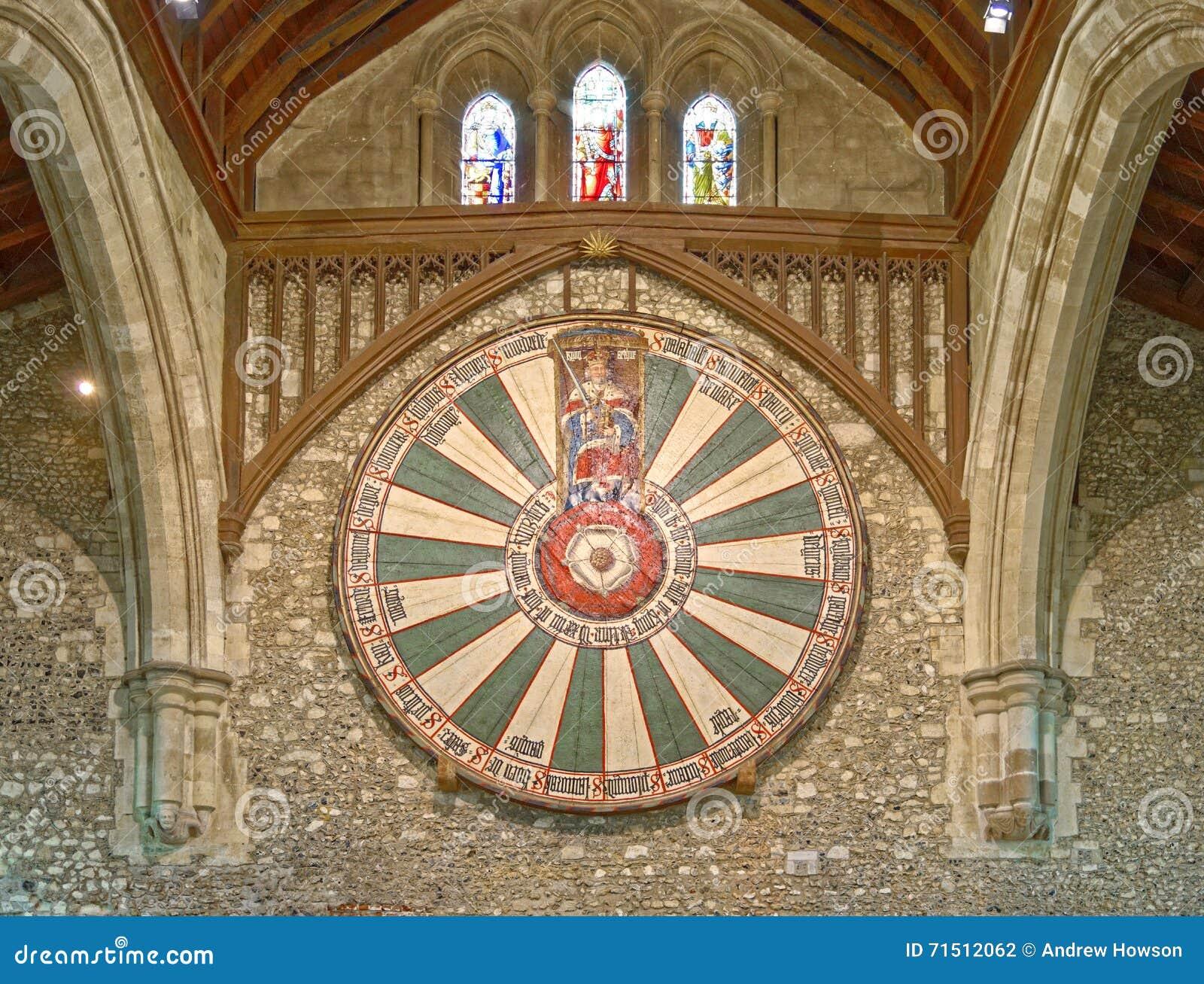 O grande salão do castelo de Winchester em Hampshire, Inglaterra