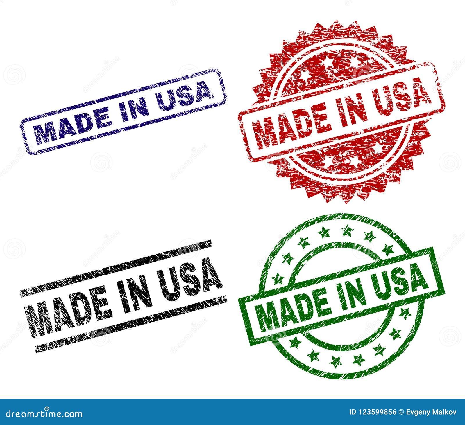 O Grunge Textured FEITO em selos do selo dos EUA