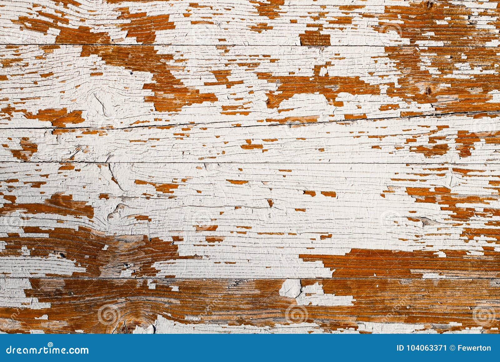 O grunge velho e o branco resistido pintaram o fundo de madeira da textura da prancha da parede