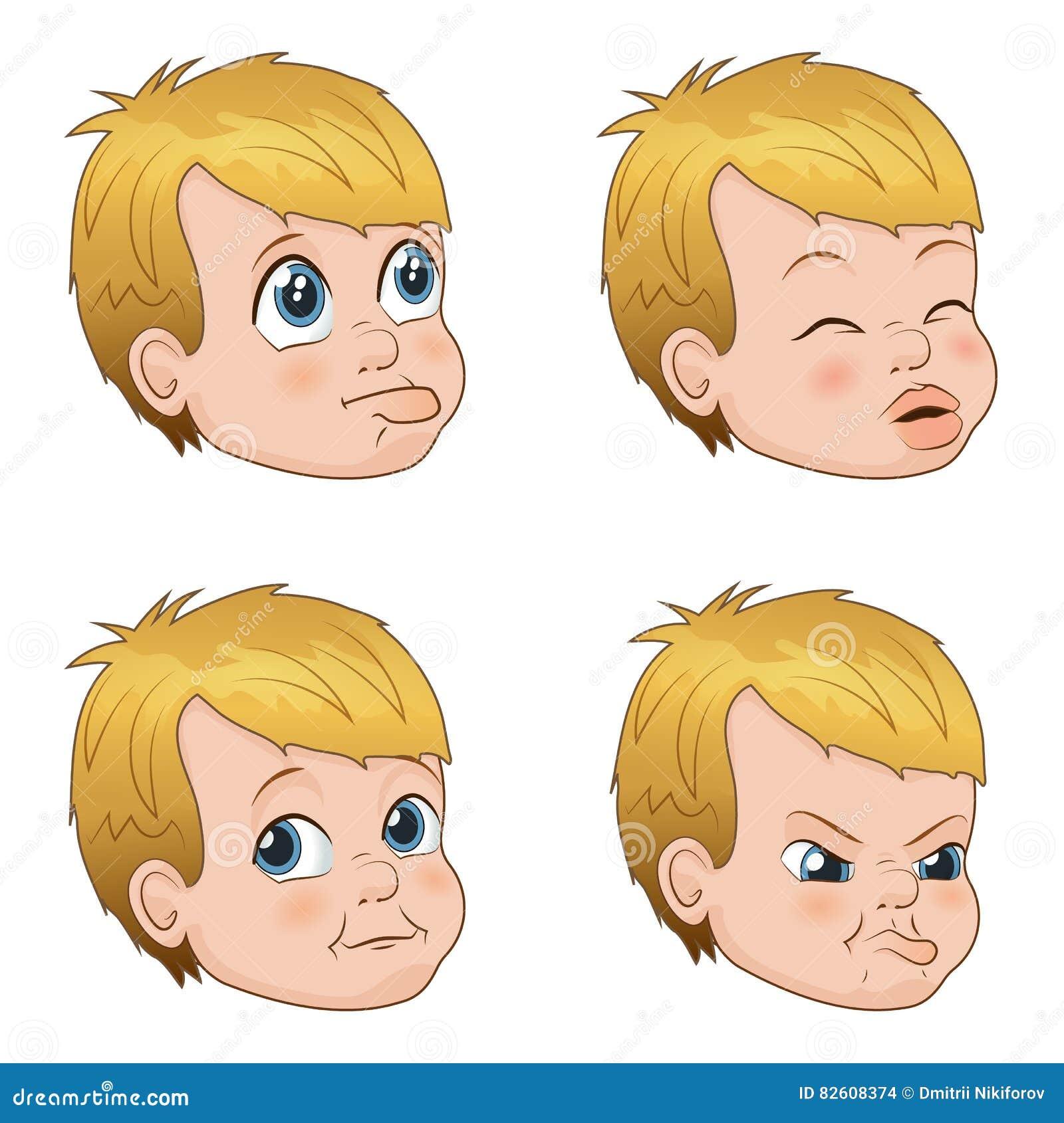 O grupo da ilustração do vetor de menino pequeno bonito da intimidação enfrenta mostrar emoções diferentes