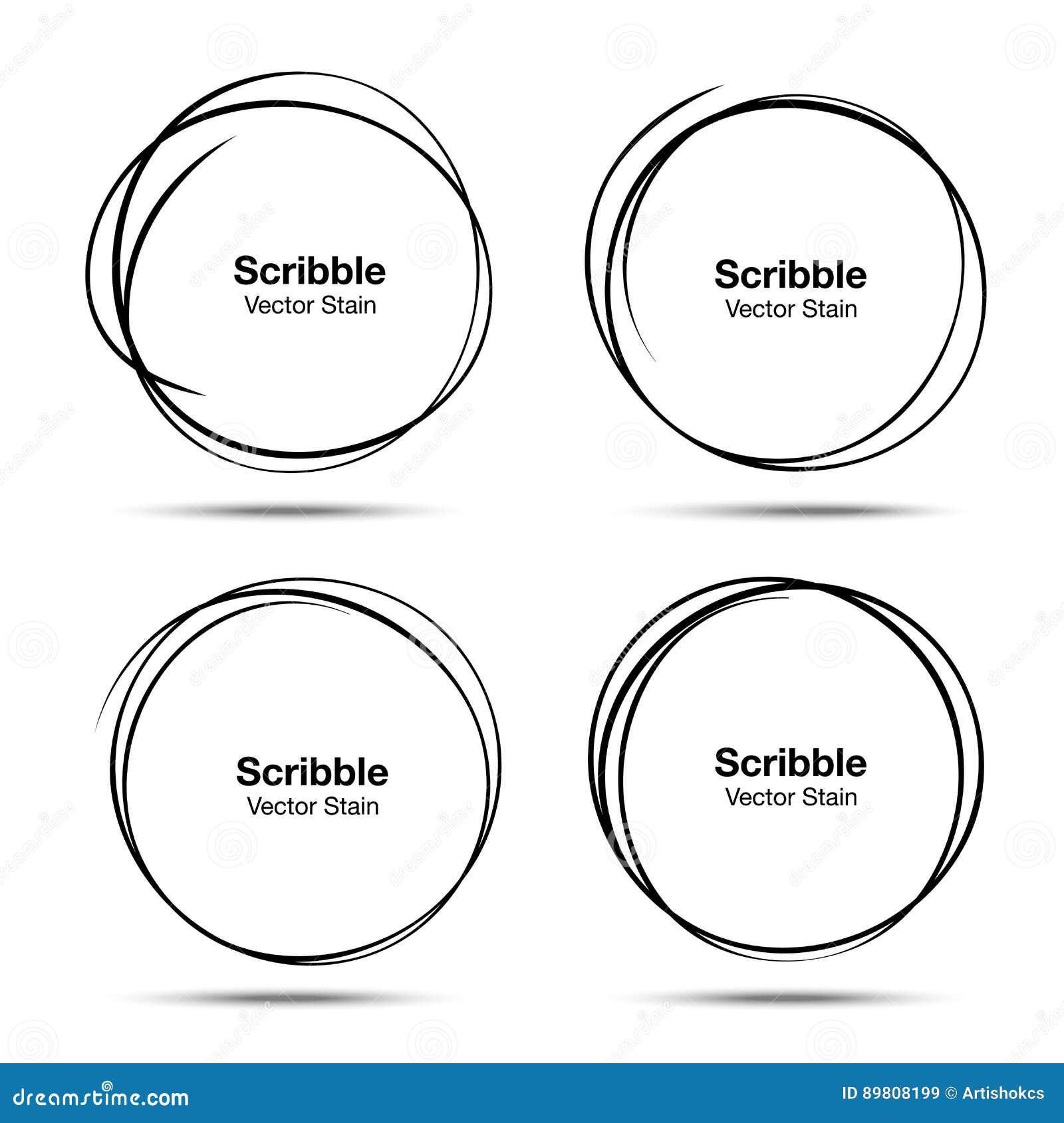 O grupo de círculos tirados mão do vetor que usam o desenho de esboço rabisca linhas do círculo Elementos circulares do projeto d