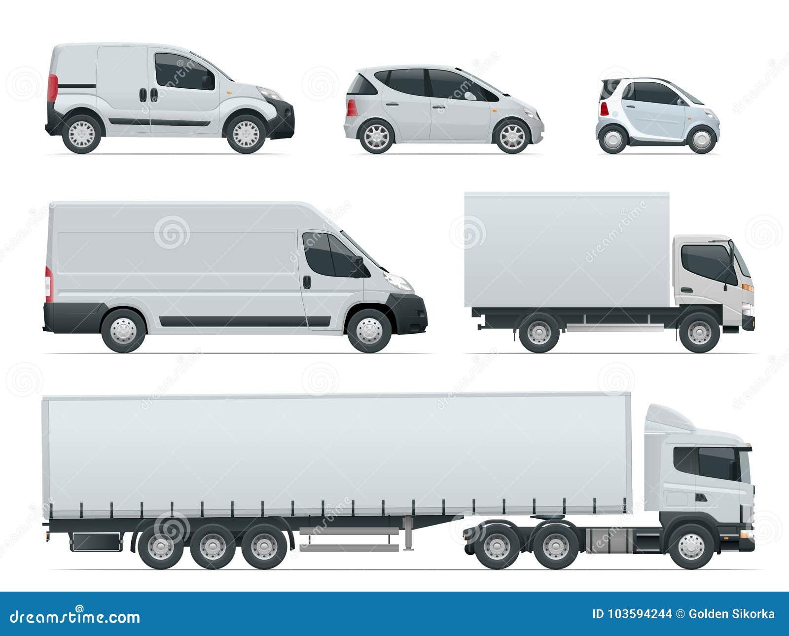 O grupo de carga transporta a vista lateral Veículos de entrega Caminhão e Van da carga Ilustração do vetor