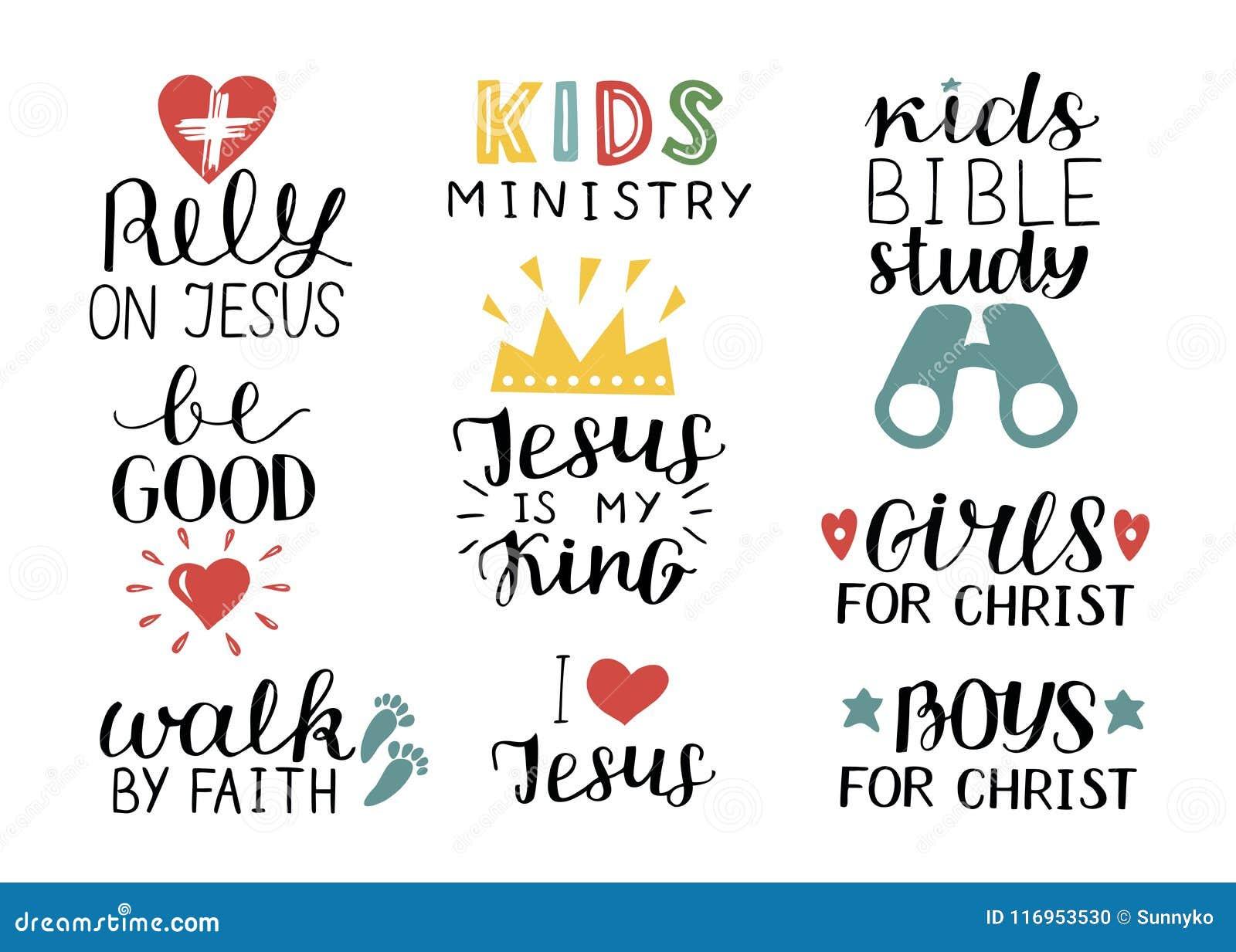 O grupo de 9 citações cristãs Jesus da rotulação da mão é meu rei, confia, estudo da Bíblia das crianças, seja bom, meninas, meni
