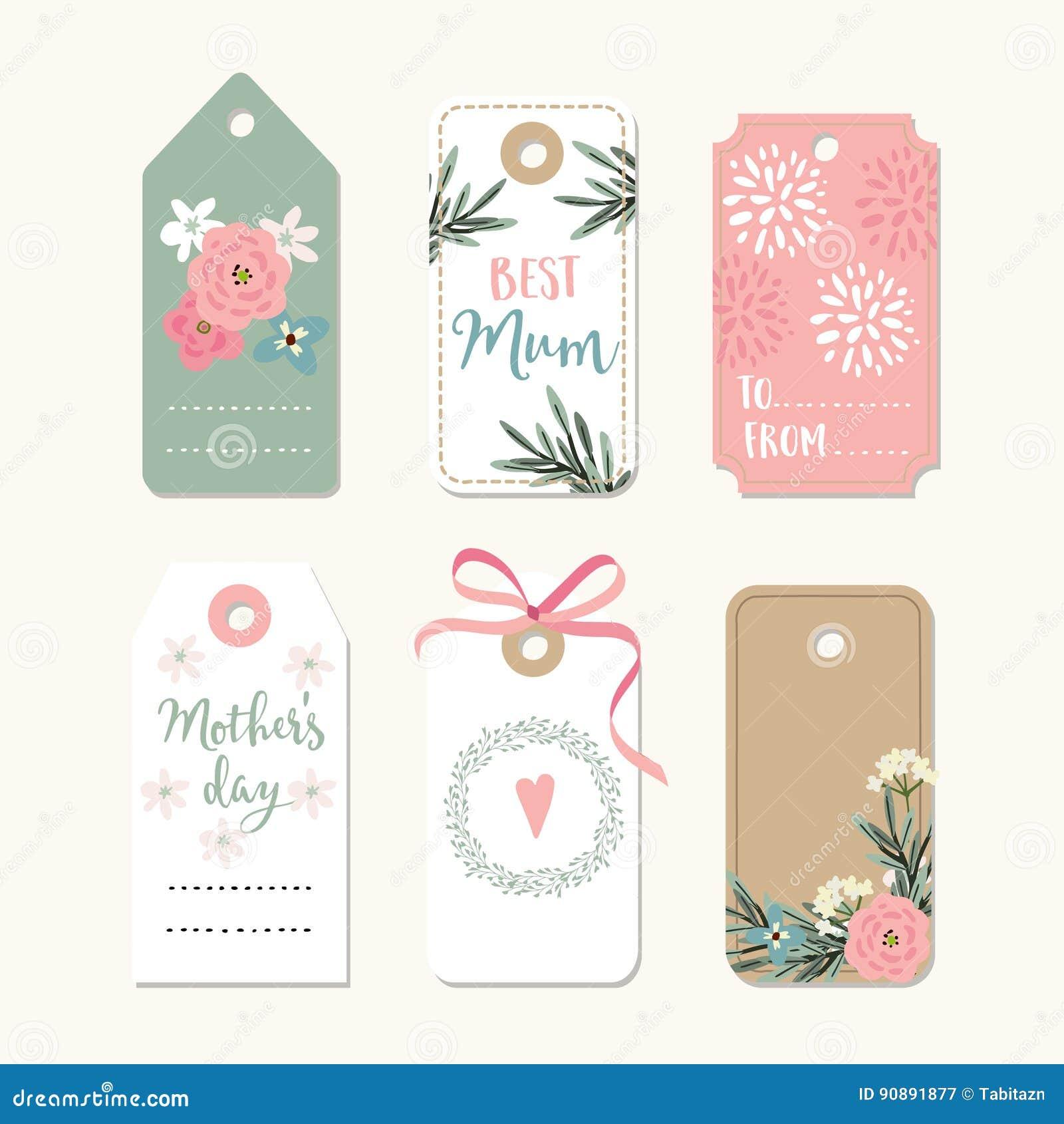 O grupo de dia de mães, de aniversário ou de quadros românticos do vintage do casamento, presente etiqueta e etiquetas com as flo