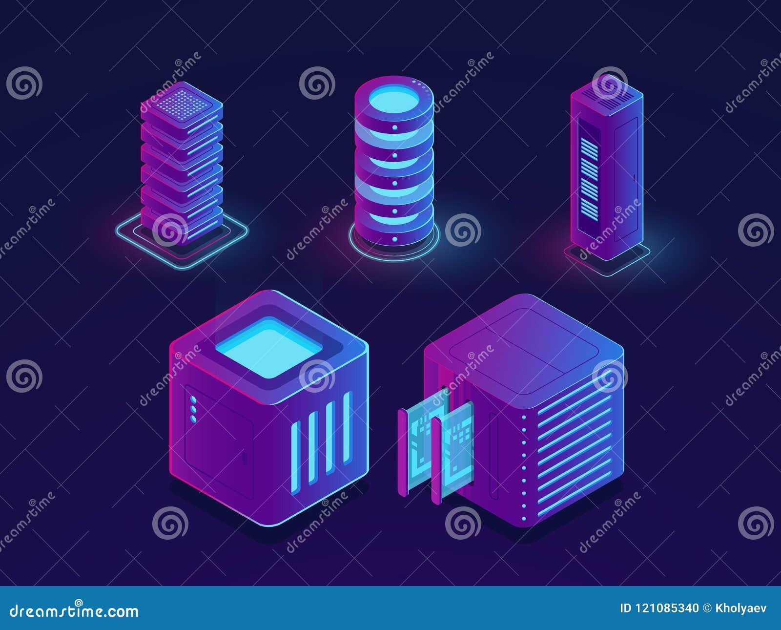 O grupo de elementos da tecnologia, sala do servidor, armazenamento de dados da nuvem, o progresso futuro da ciência dos dados ob