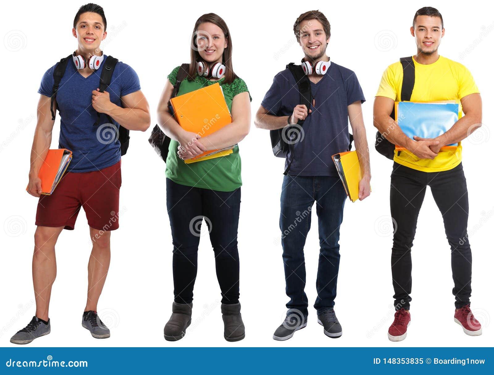 O grupo de estudantes estuda os jovens da educação isolados no branco