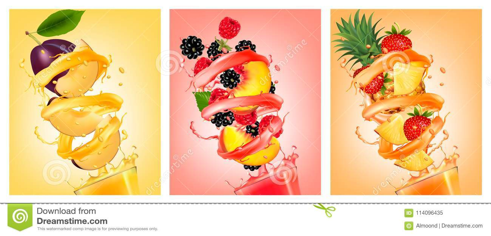 O grupo de fruto no suco espirra Pêssego, morango, amora-preta, p