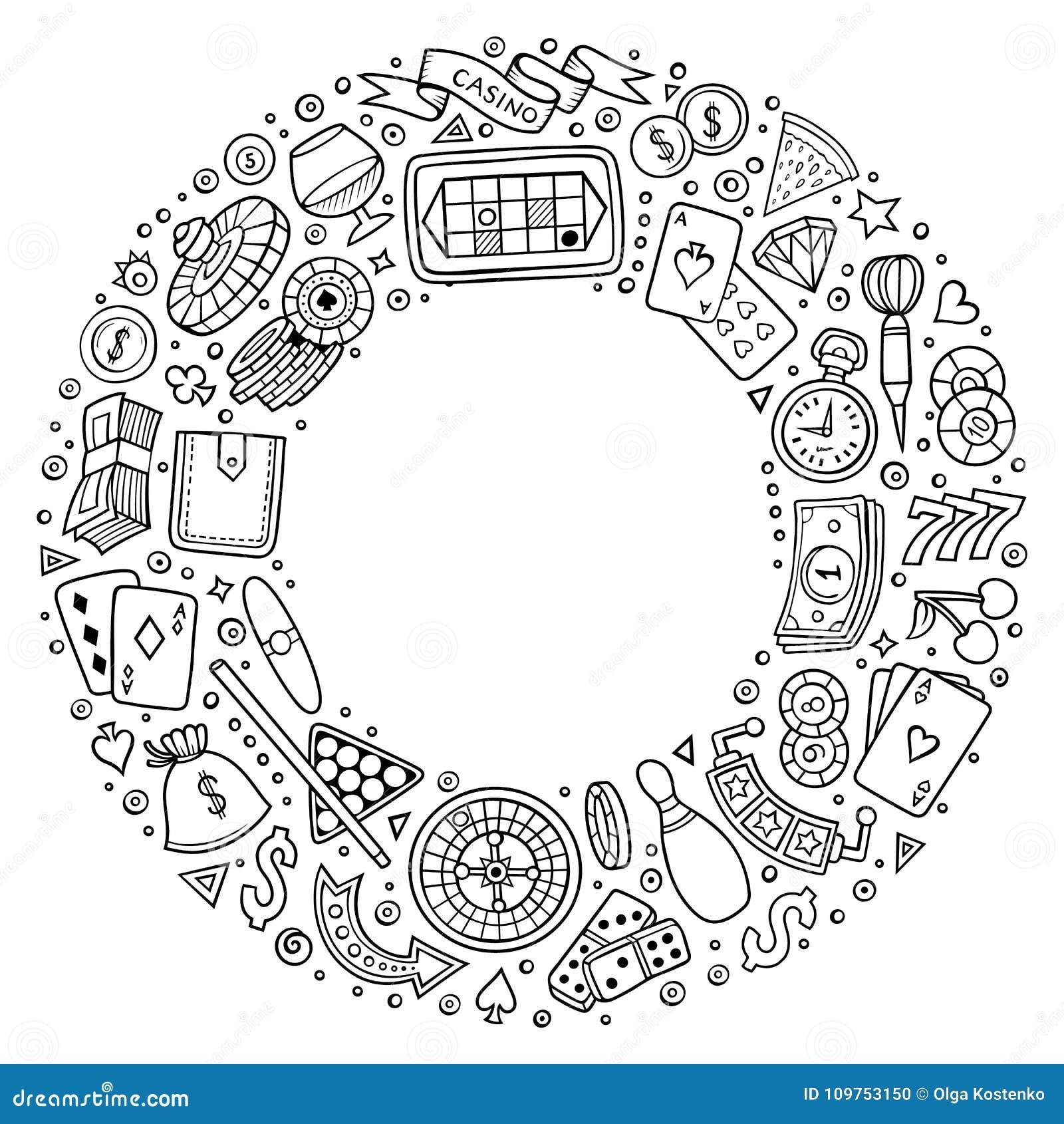 O grupo de garatuja dos desenhos animados do casino objeta, símbolos e artigos