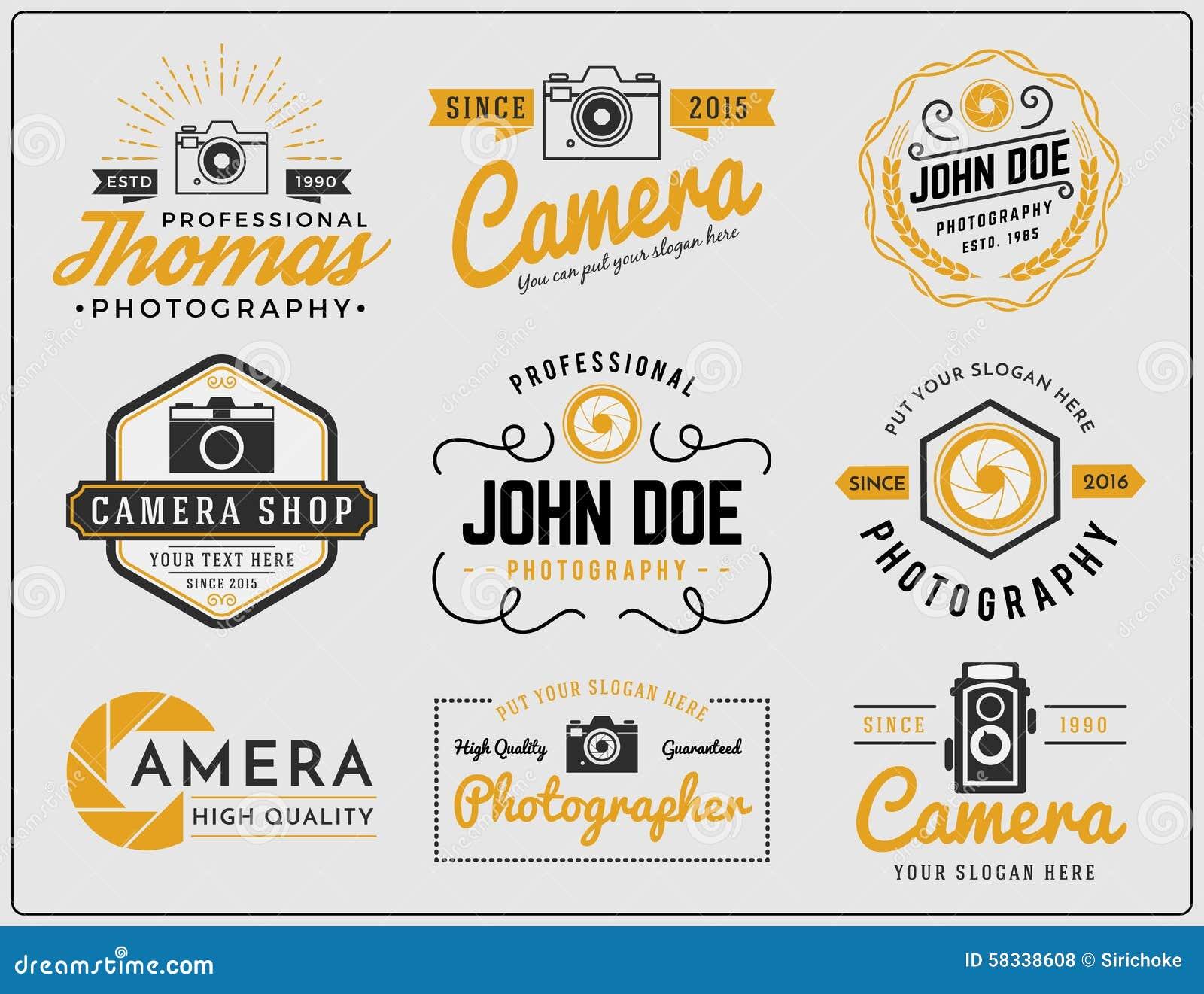 O grupo de insígnias do logotipo da fotografia de duas cores do tom e do serviço da câmera projeta