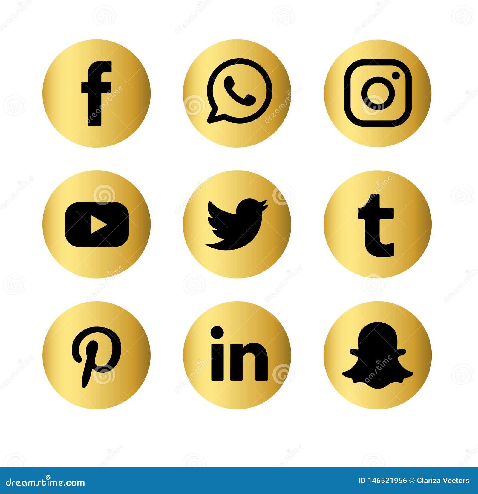 O grupo de logotipos sociais populares dos meios vector o ?cone da Web Internet, facebook
