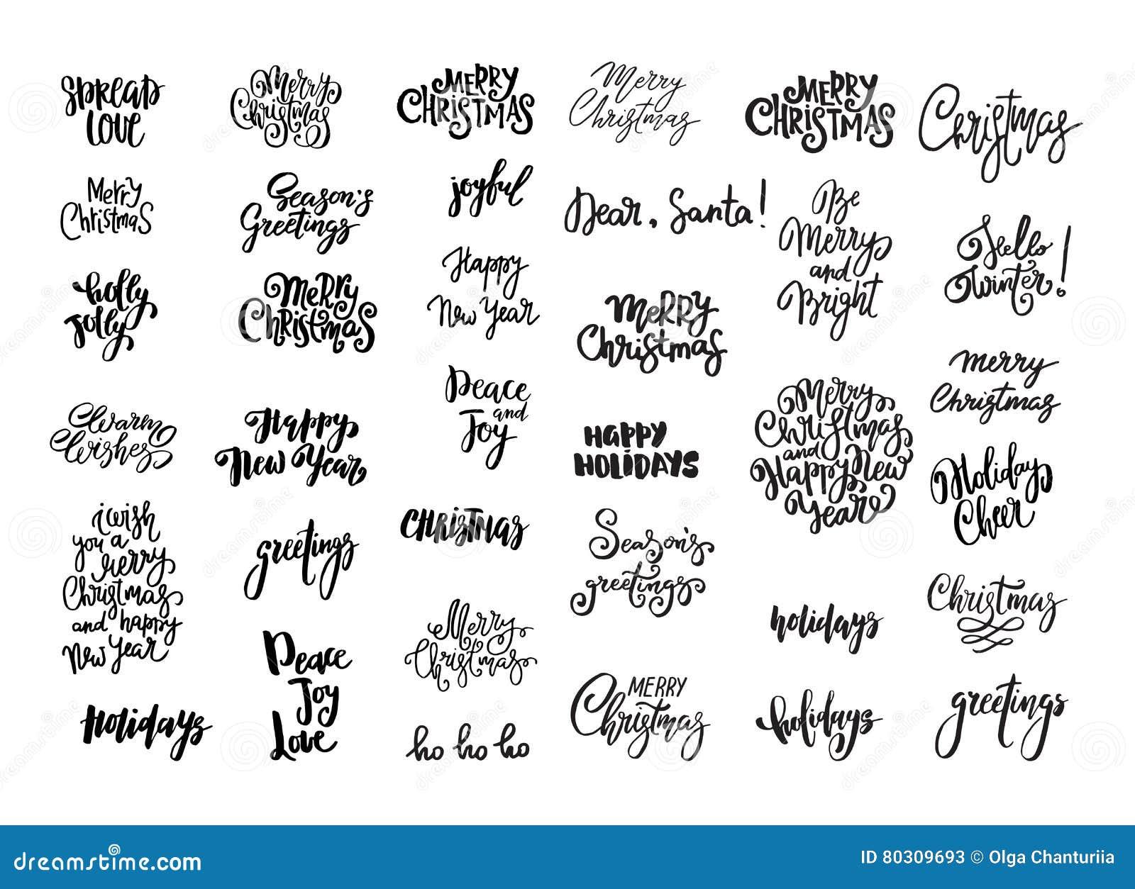 O grupo de Natal e o ano novo projetam a rotulação Desejos escritos à mão do XMAS Sinais tirados mão para o cartão, convite