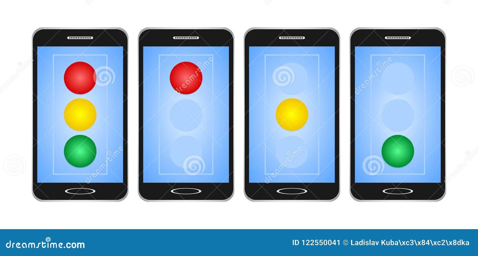 O grupo de preto comutou smartphones com exposição azul com luz vermelha, amarela e verde no sinal no fundo branco O tra