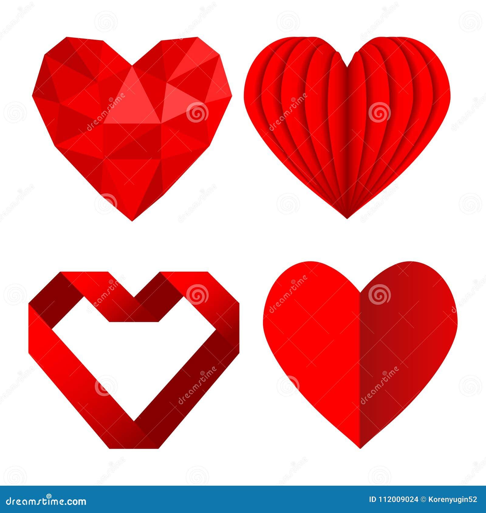 O grupo de símbolos vermelhos do coração ama do papel e da fita amarrotados, st