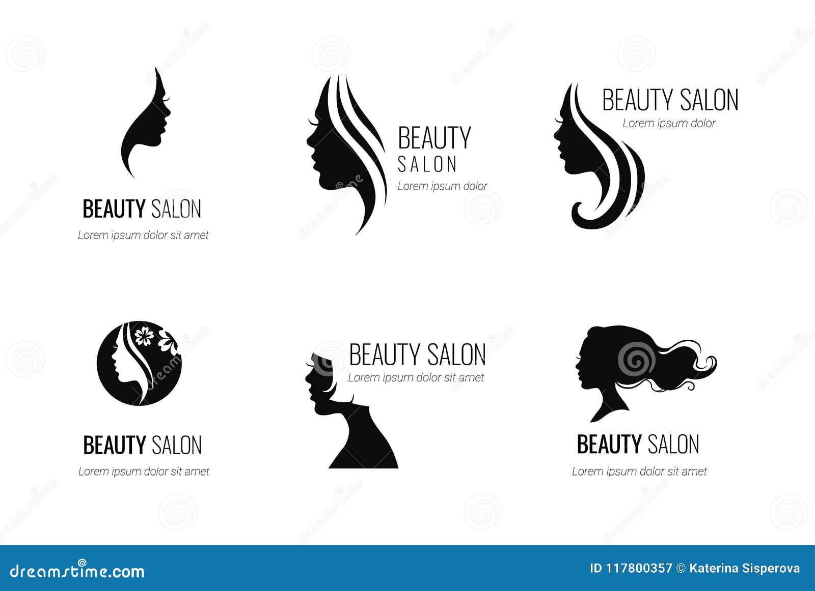O grupo de salão de beleza do vetor ou de ícone preto do cabeleireiro projeta o iso