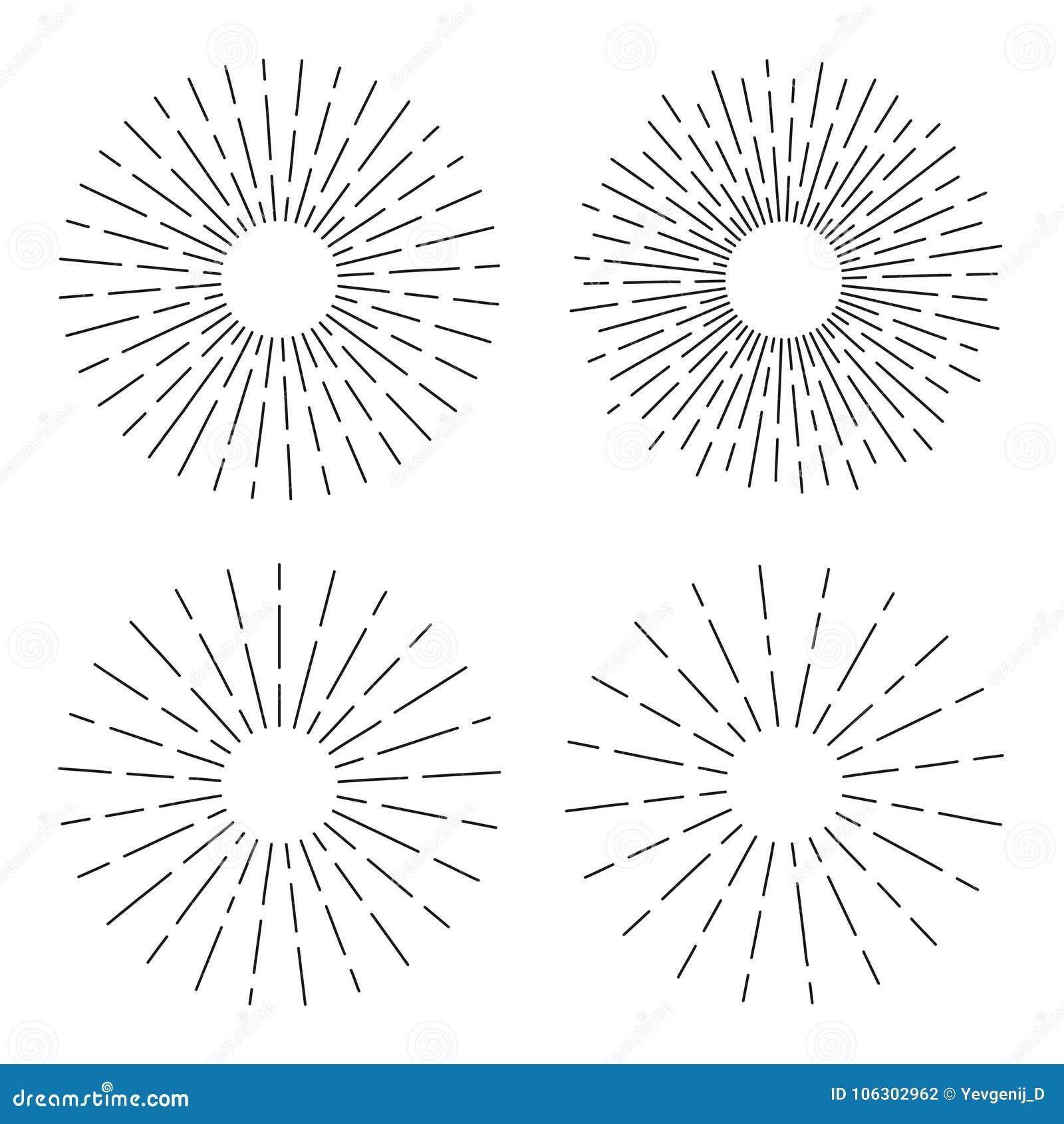 O grupo de sunburst do vintage nas linhas forma, radial linear estourou o sol retro para a cultura do moderno