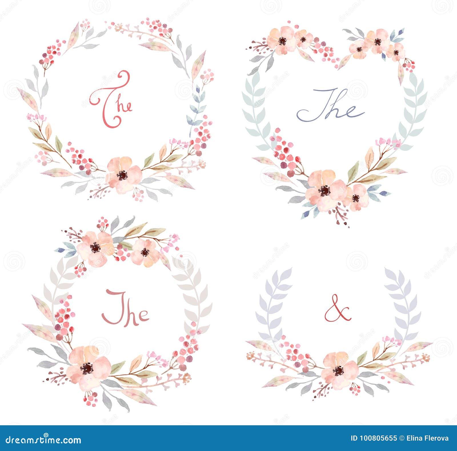 O grupo do vetor de flores retros bonitos arranjou o un uma forma da grinalda perfeita para convites do casamento e cartões de an