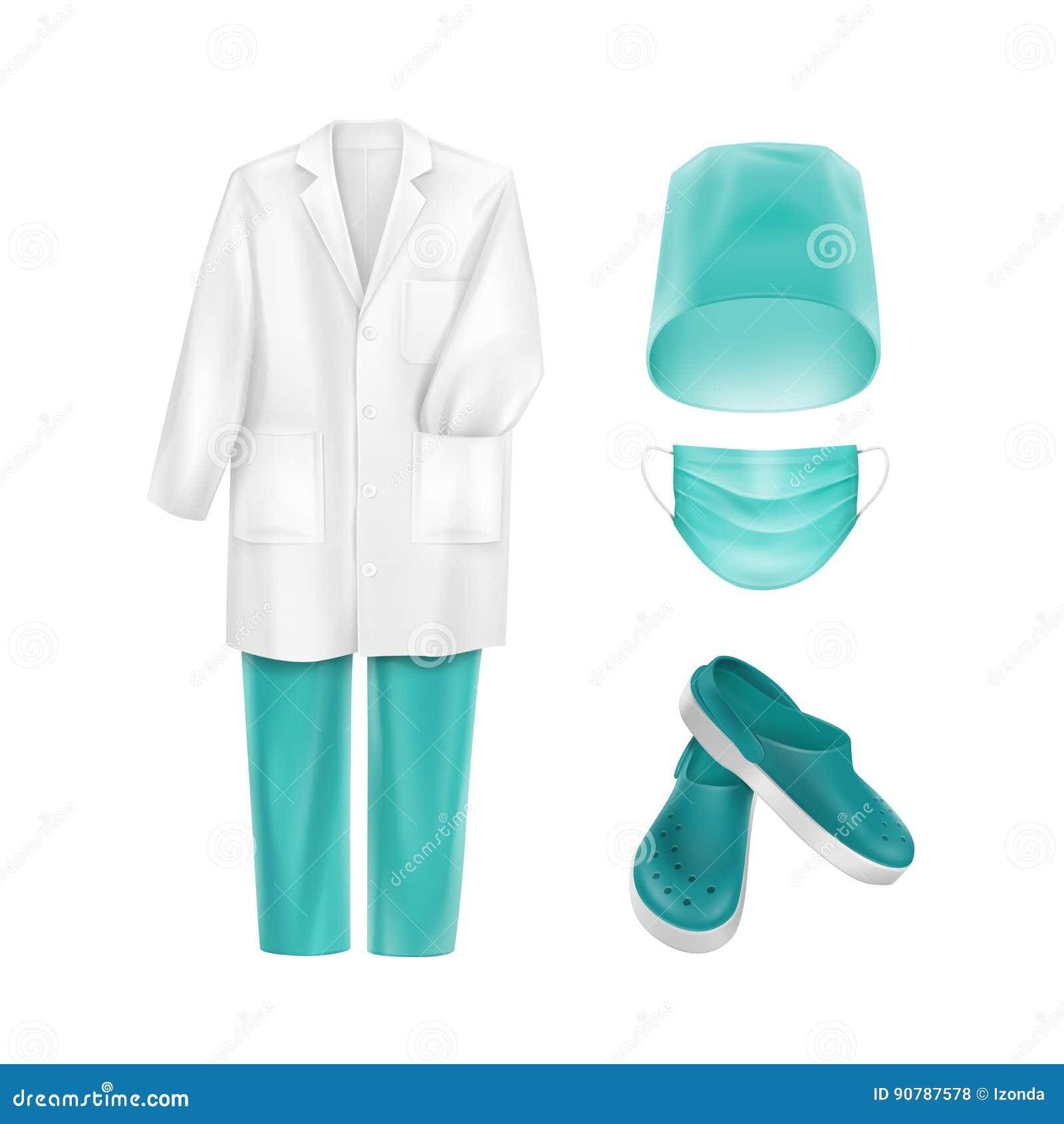O grupo do vetor de uniforme médico veste acessórios