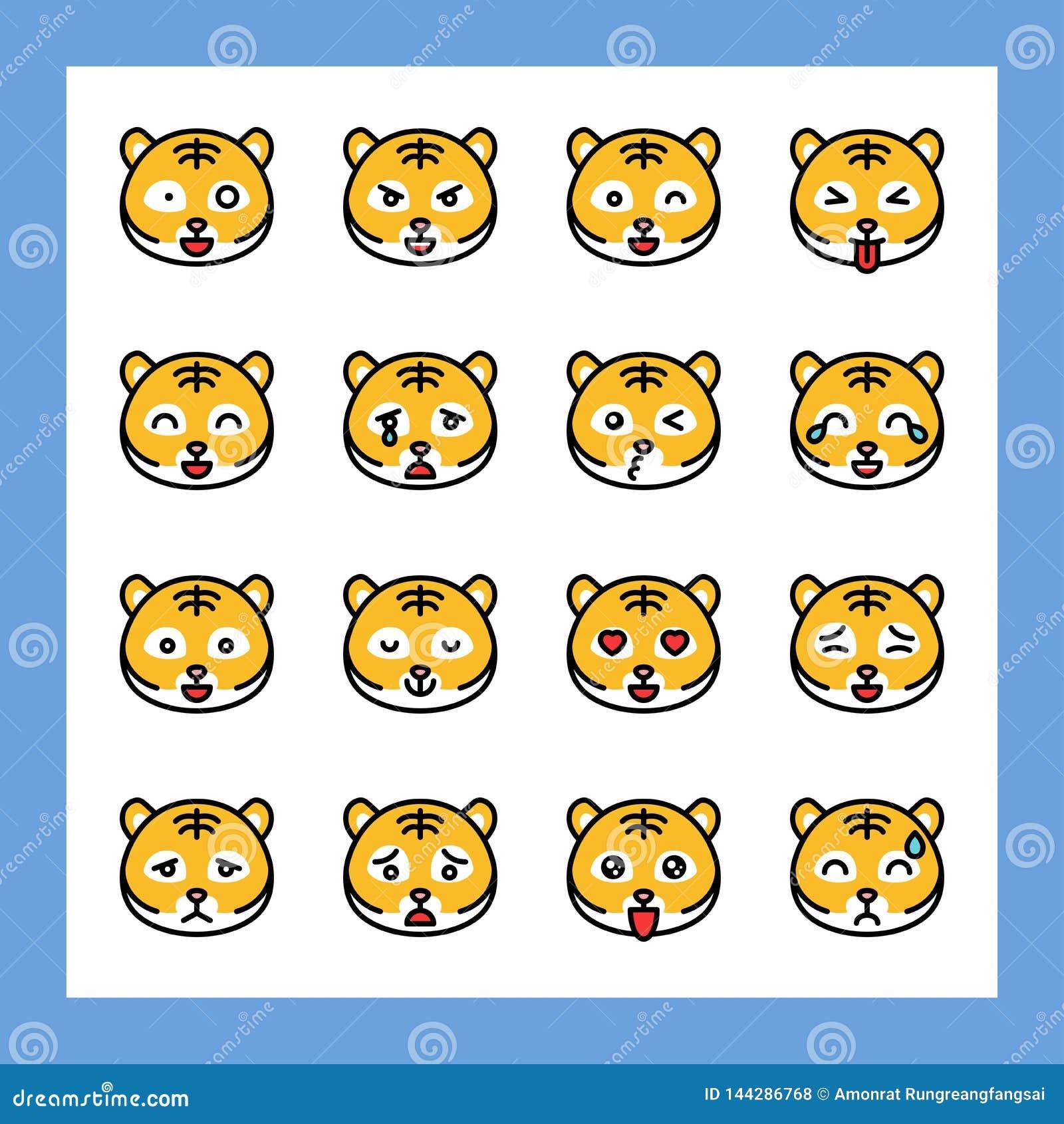 O grupo do vetor do emoticon do tigre, encheu o curso editável do estilo