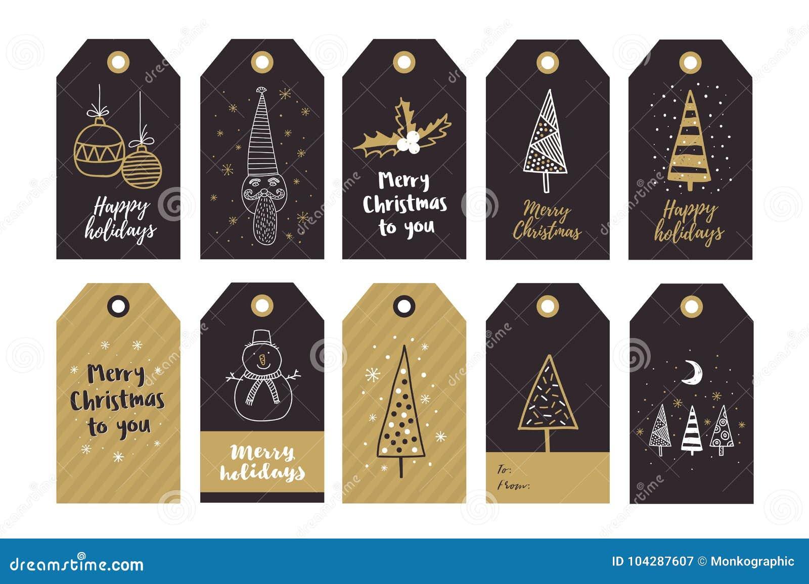 O grupo grande de presente criativo etiqueta com os elementos do desenho da mão para o ano novo feliz e o Natal