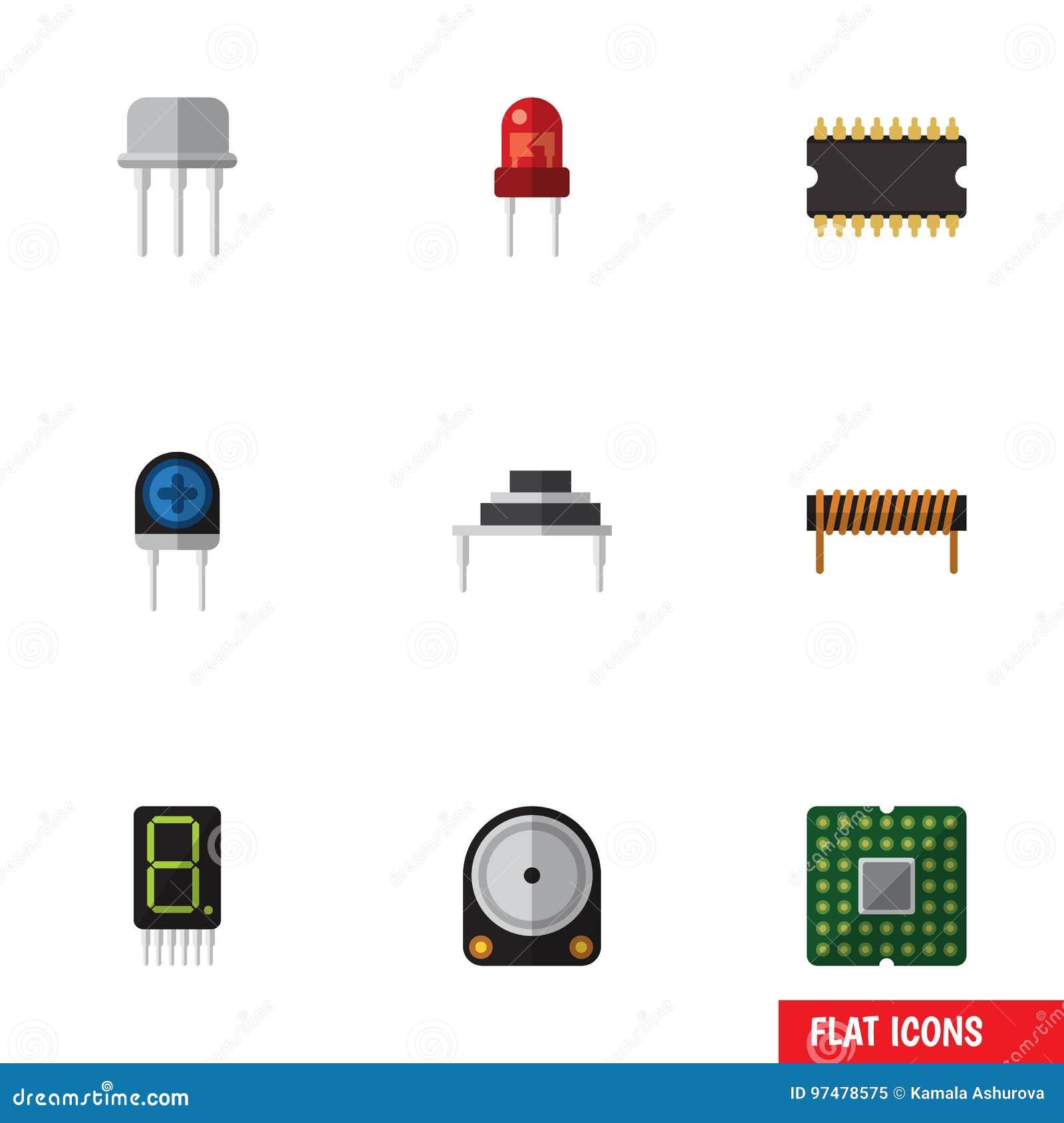 Circuito Transistor : O grupo liso da eletrônica do ícone de resiste receptor transdutor