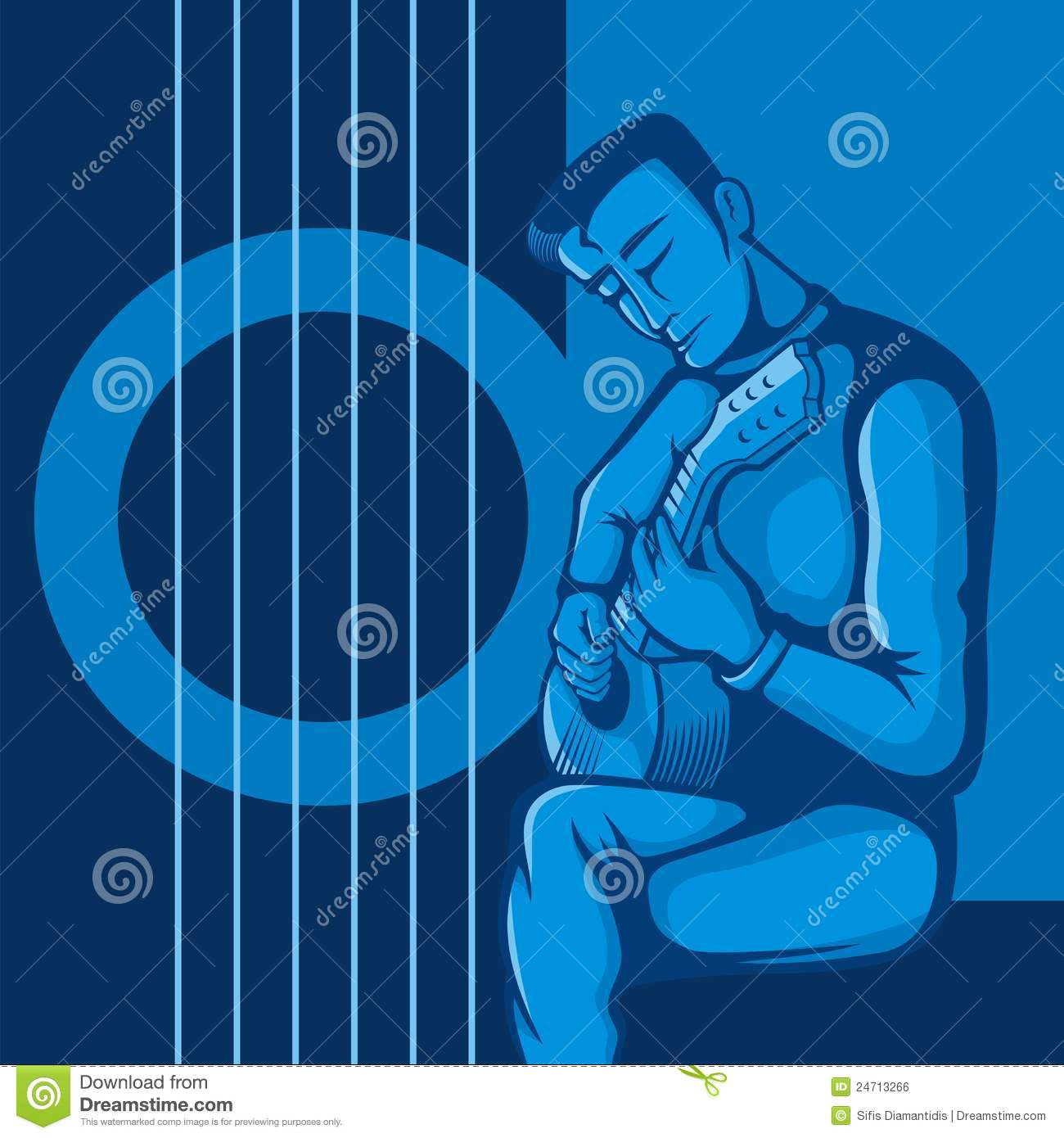 O guitarrista no azul