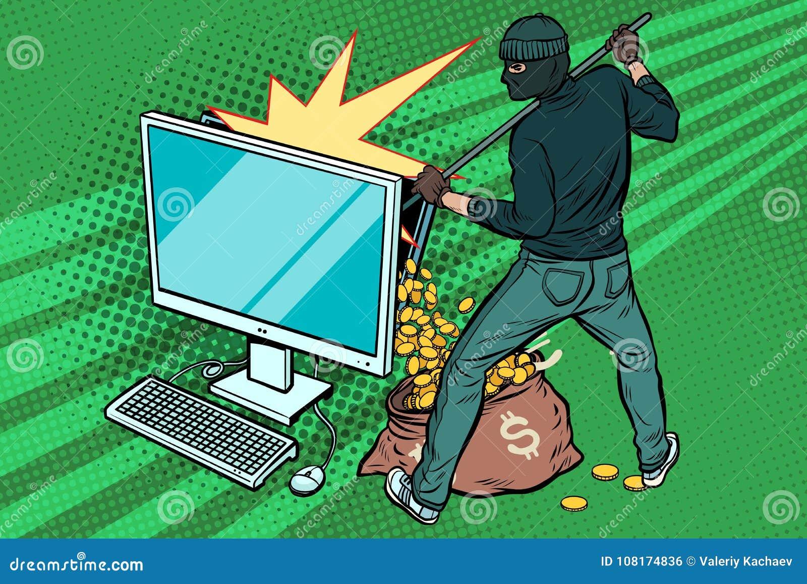 O hacker em linha rouba o dinheiro do dólar do computador