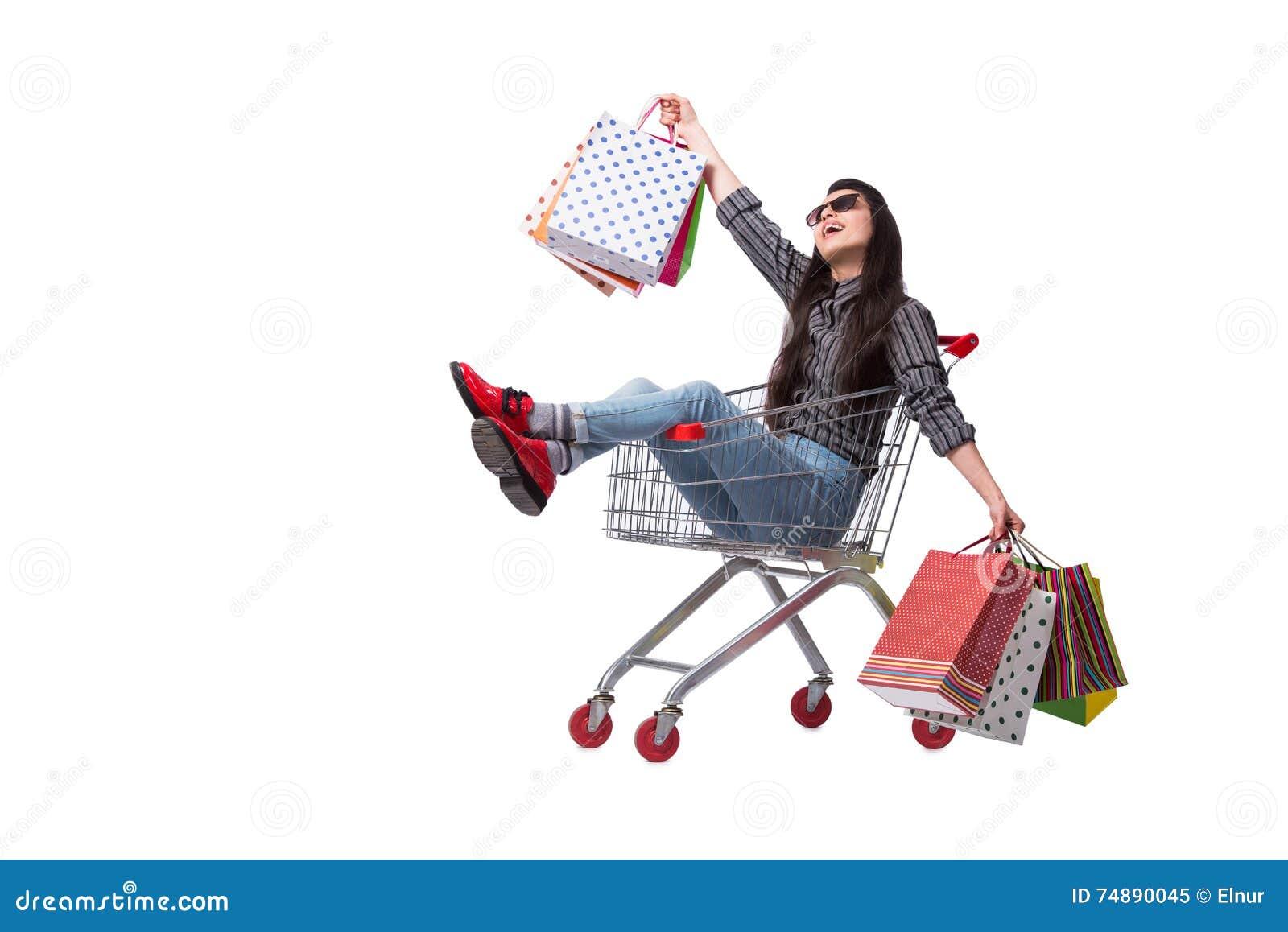 O happer da jovem mulher após a compra isolada no branco