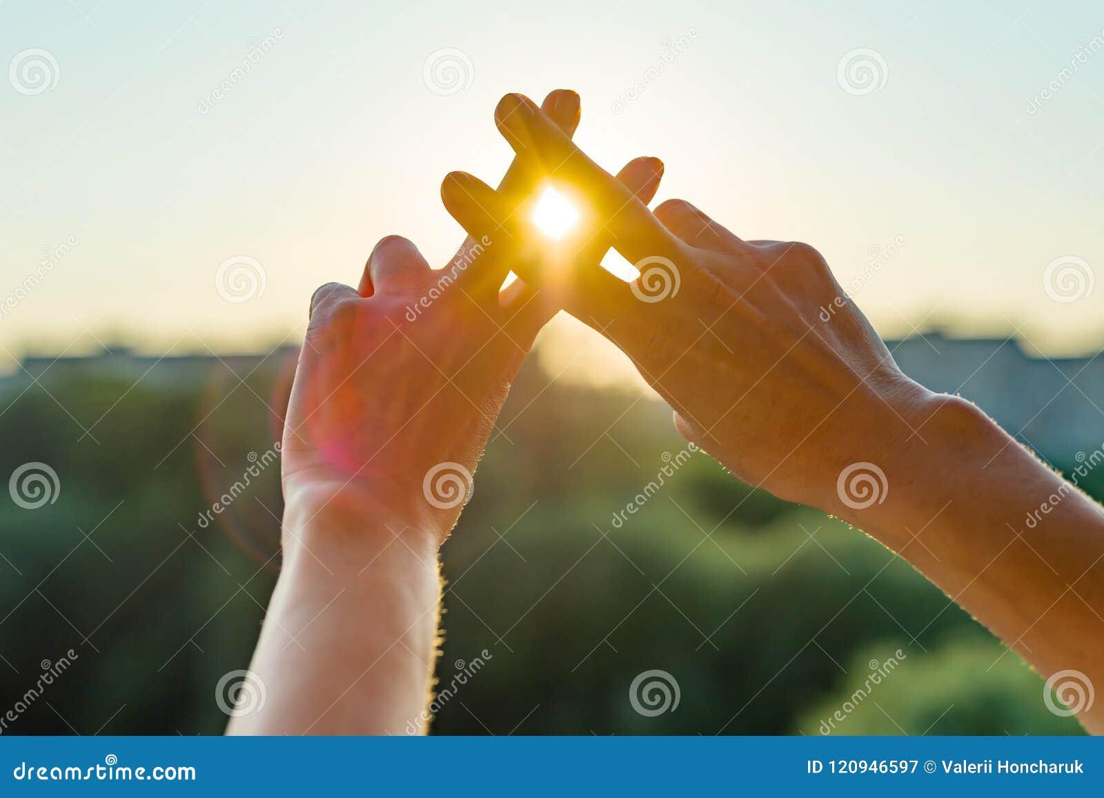 O hashtag do símbolo do gesto da mostra das mãos é viral, Web, meio social, rede O fundo é o por do sol urbano ensolarado, concei