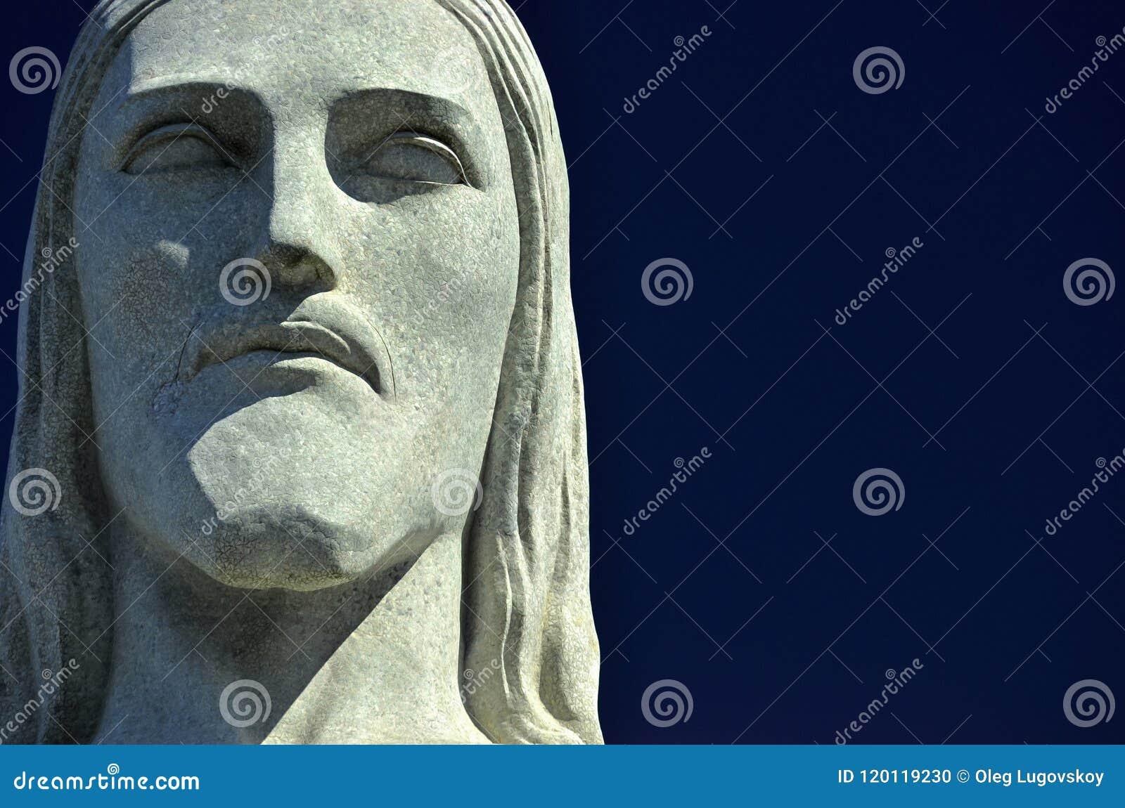 O Headshot da estátua Cristo o redentor é uma estátua de Art Deco em Rio de janeiro