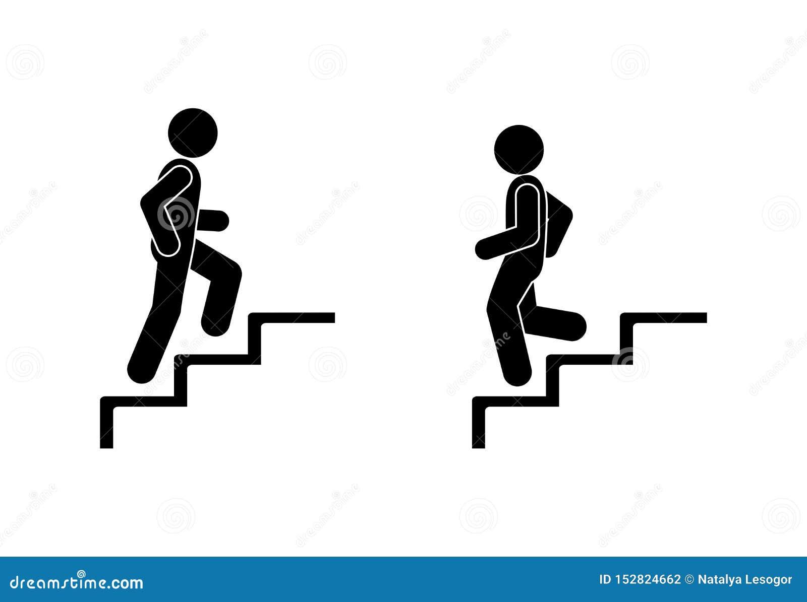 O homem anda para cima e para baixo as escadas, figura pictograma povos da vara, silhueta humana