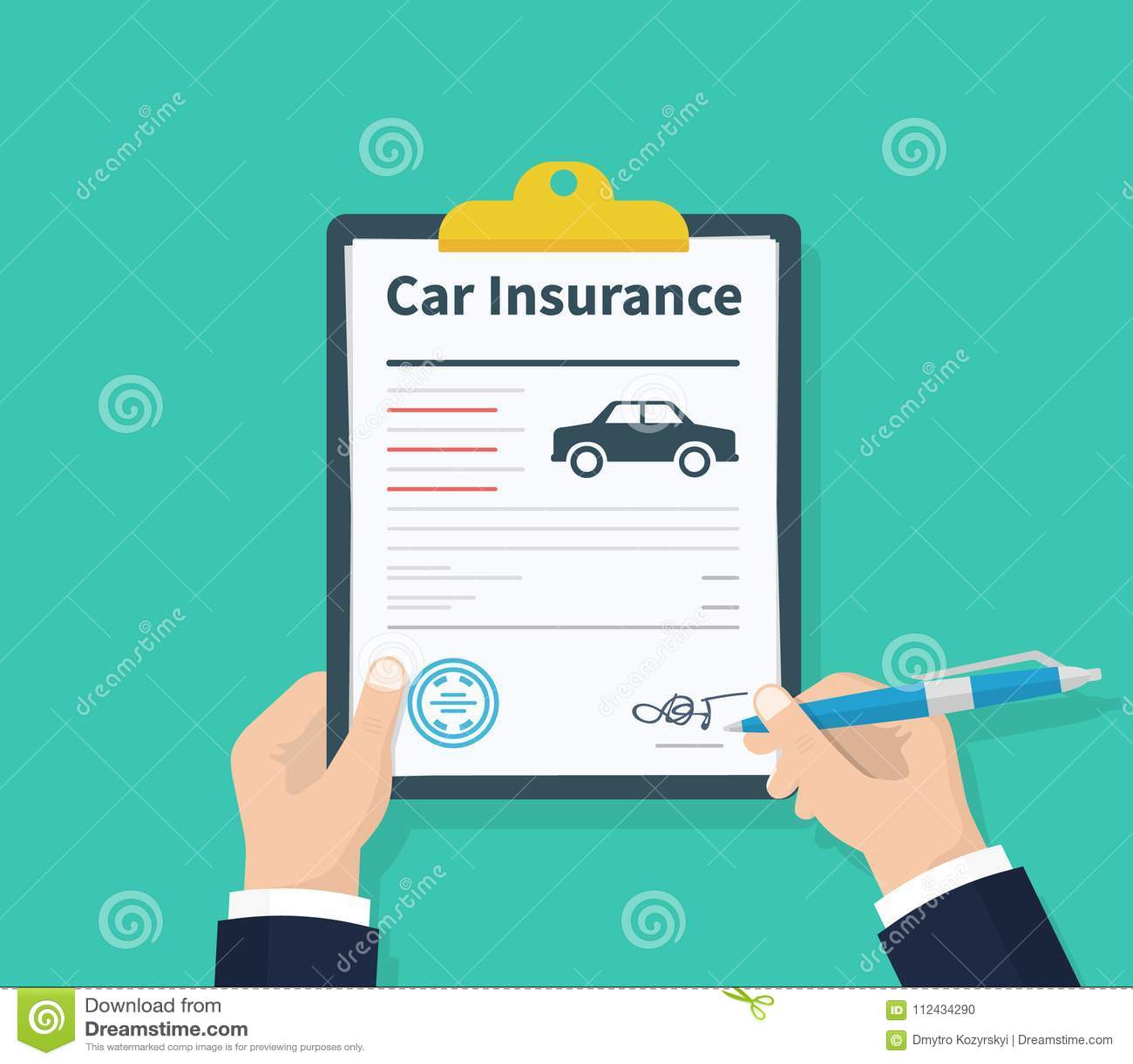 O homem assina um auto seguro de documento jurídico Formulário de reclamação Propriedade da proteção do carro Formulário do segur