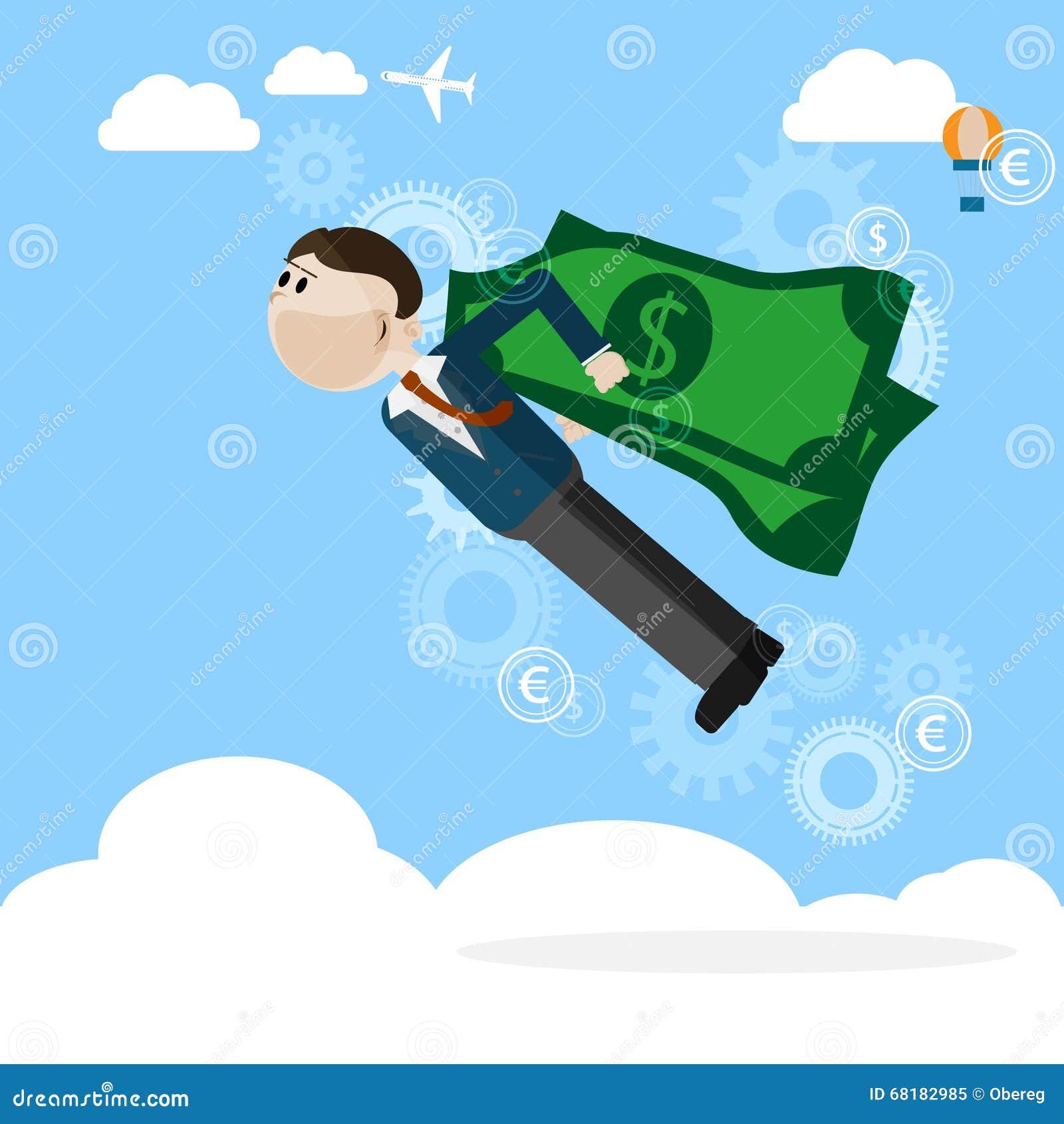 O homem com dinheiro voa o conceito do negócio