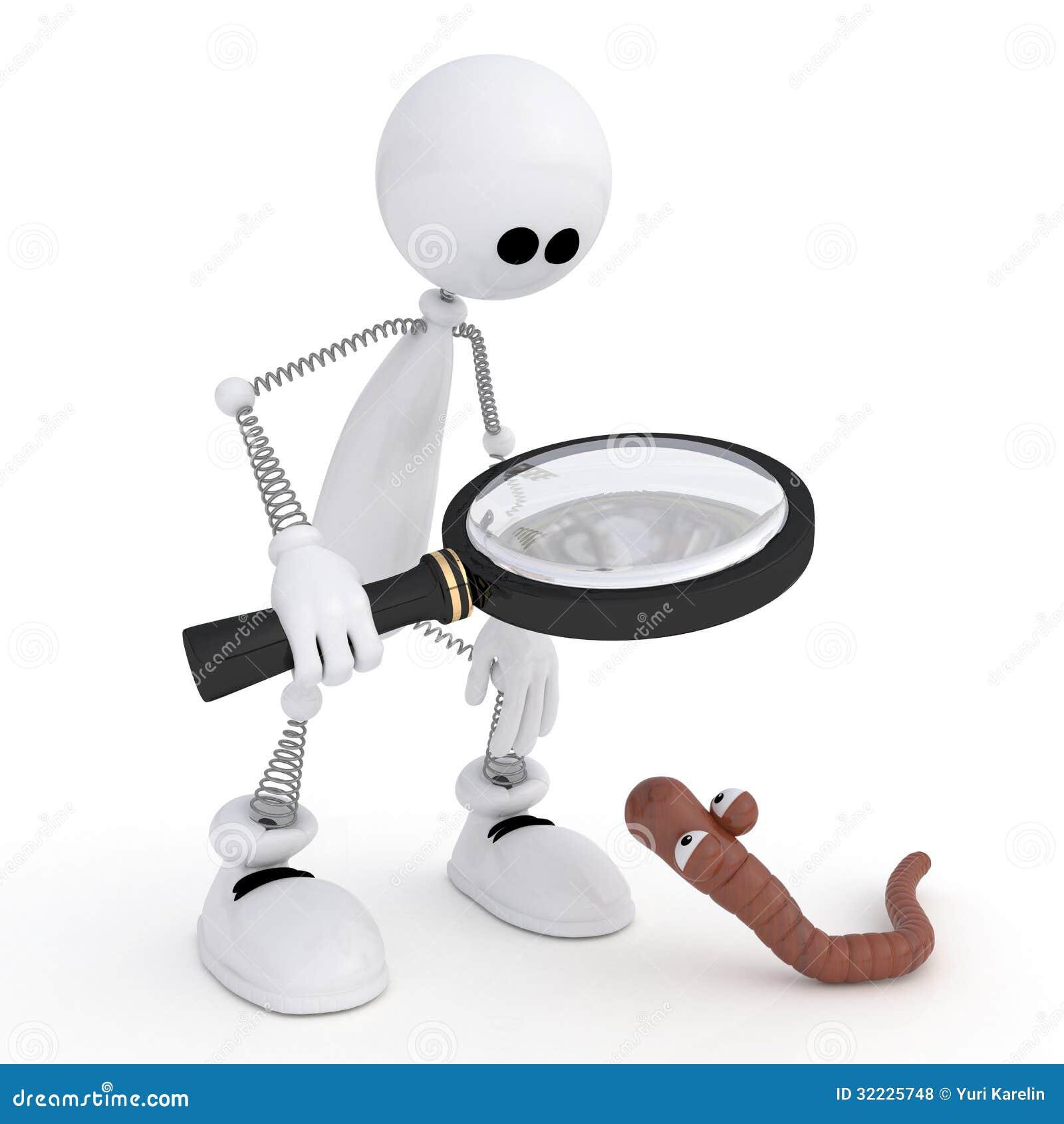 Download O Homem 3D Pequeno Com Uma Lupa. Ilustração Stock - Ilustração de ícone, renda: 32225748